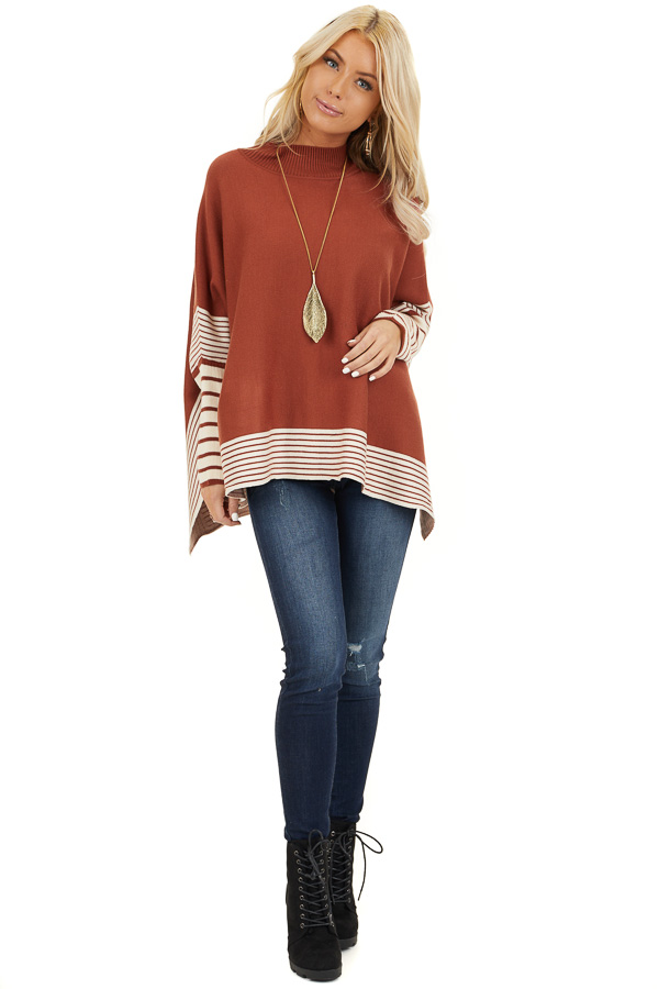 Rust Long Sleeve Mock Neck Poncho Style Top with Side Slits front full body