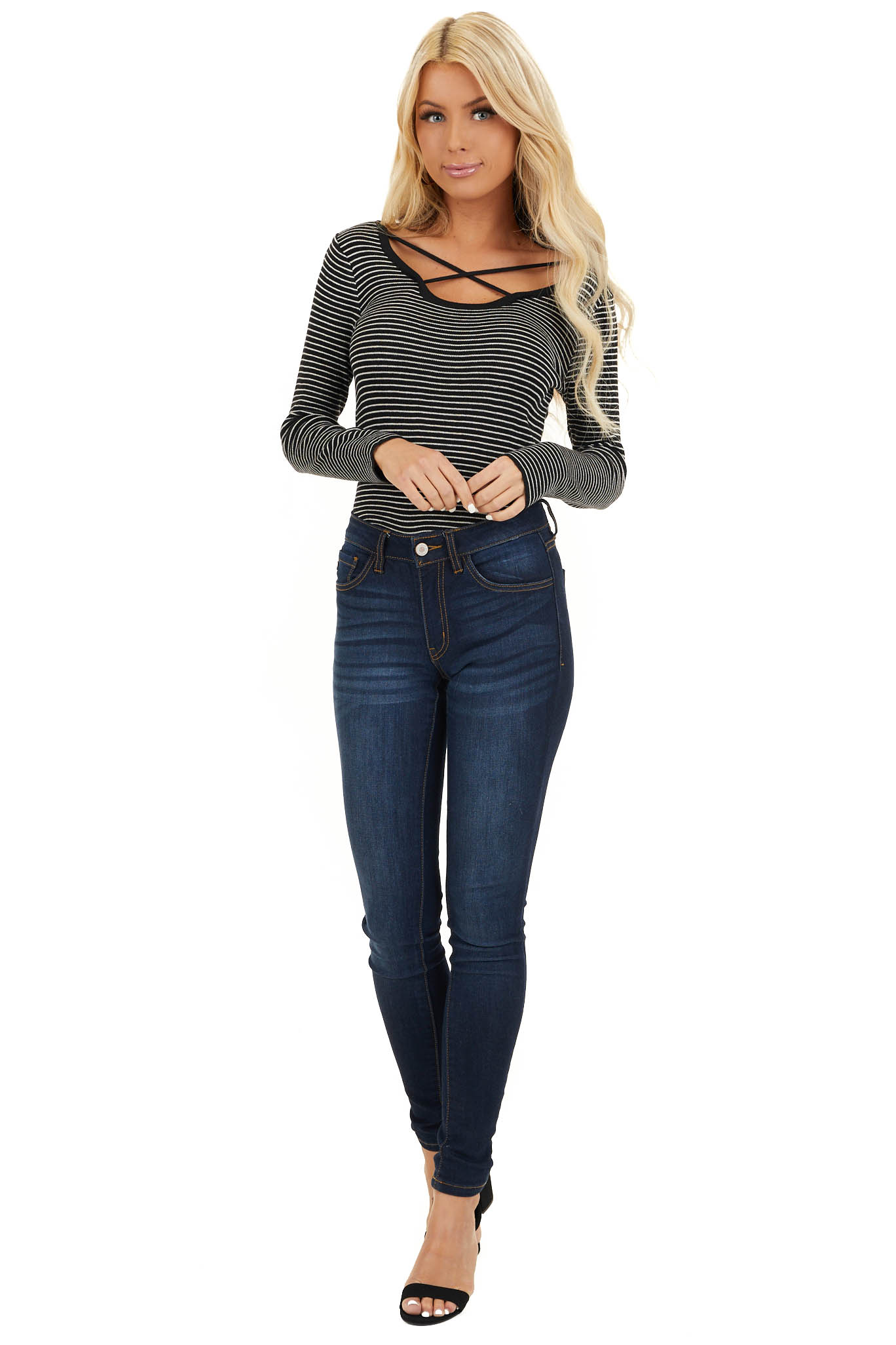Black and Pearl Striped Top with Strappy Chest Detail front full body