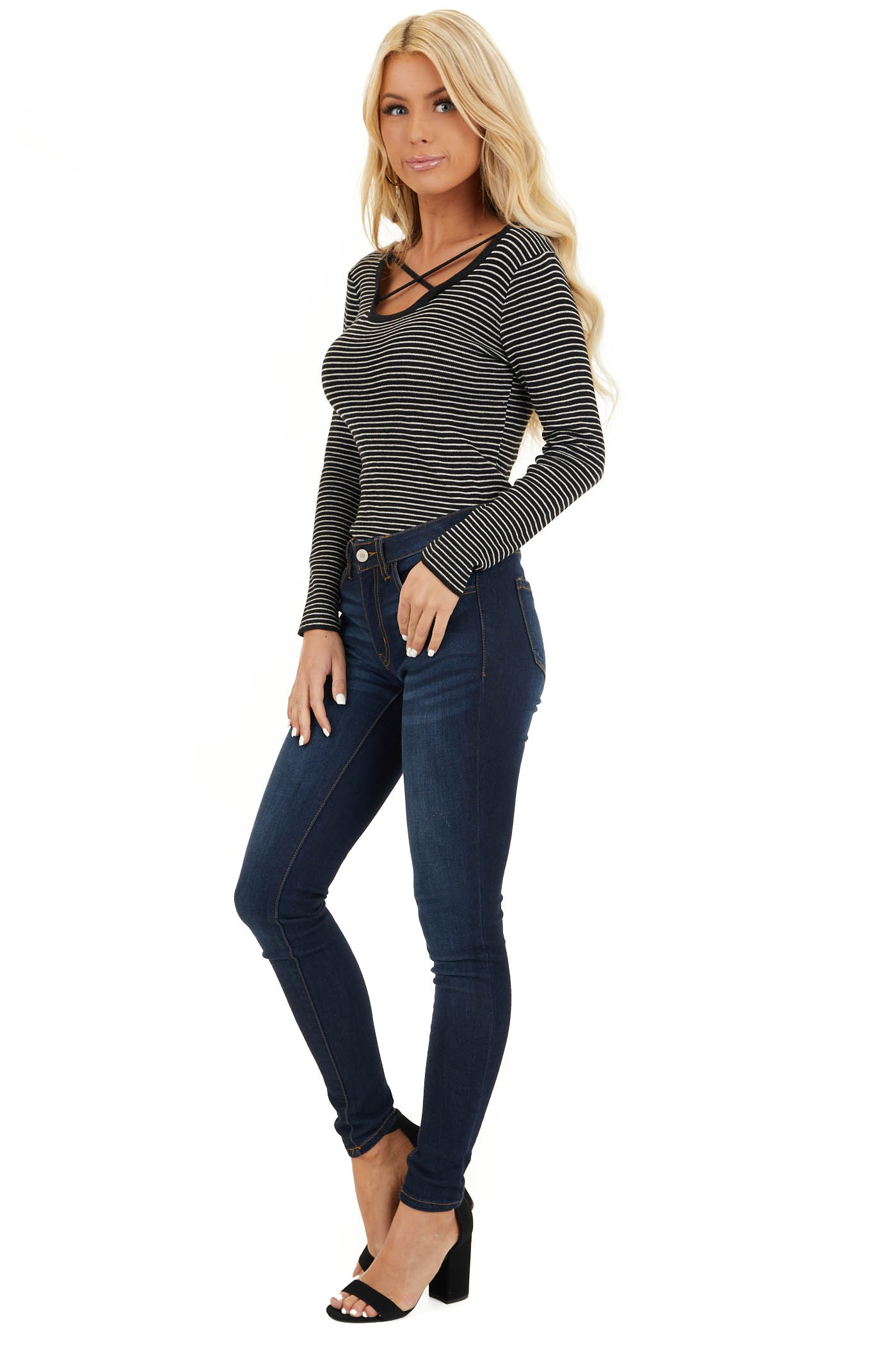 Black and Pearl Striped Top with Strappy Chest Detail side full body
