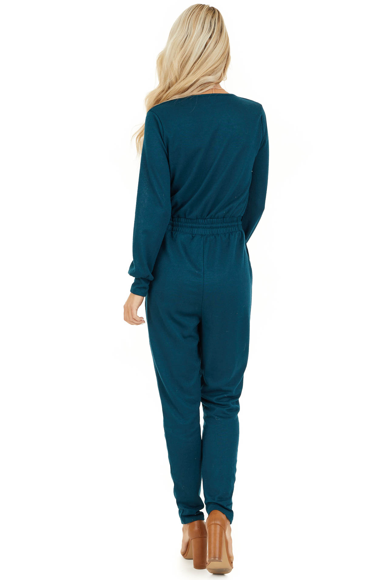 Teal V Neck Jumpsuit with Drawstring Waist and Long Sleeves back full body