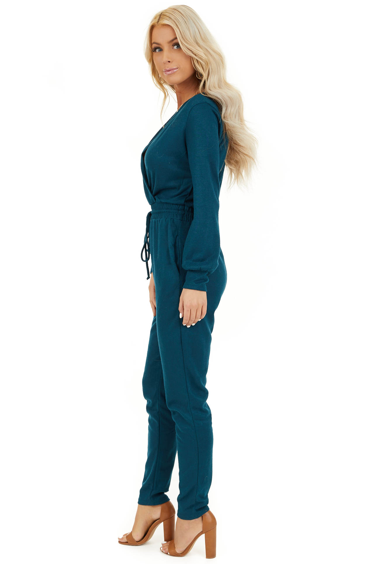 Teal V Neck Jumpsuit with Drawstring Waist and Long Sleeves side full body