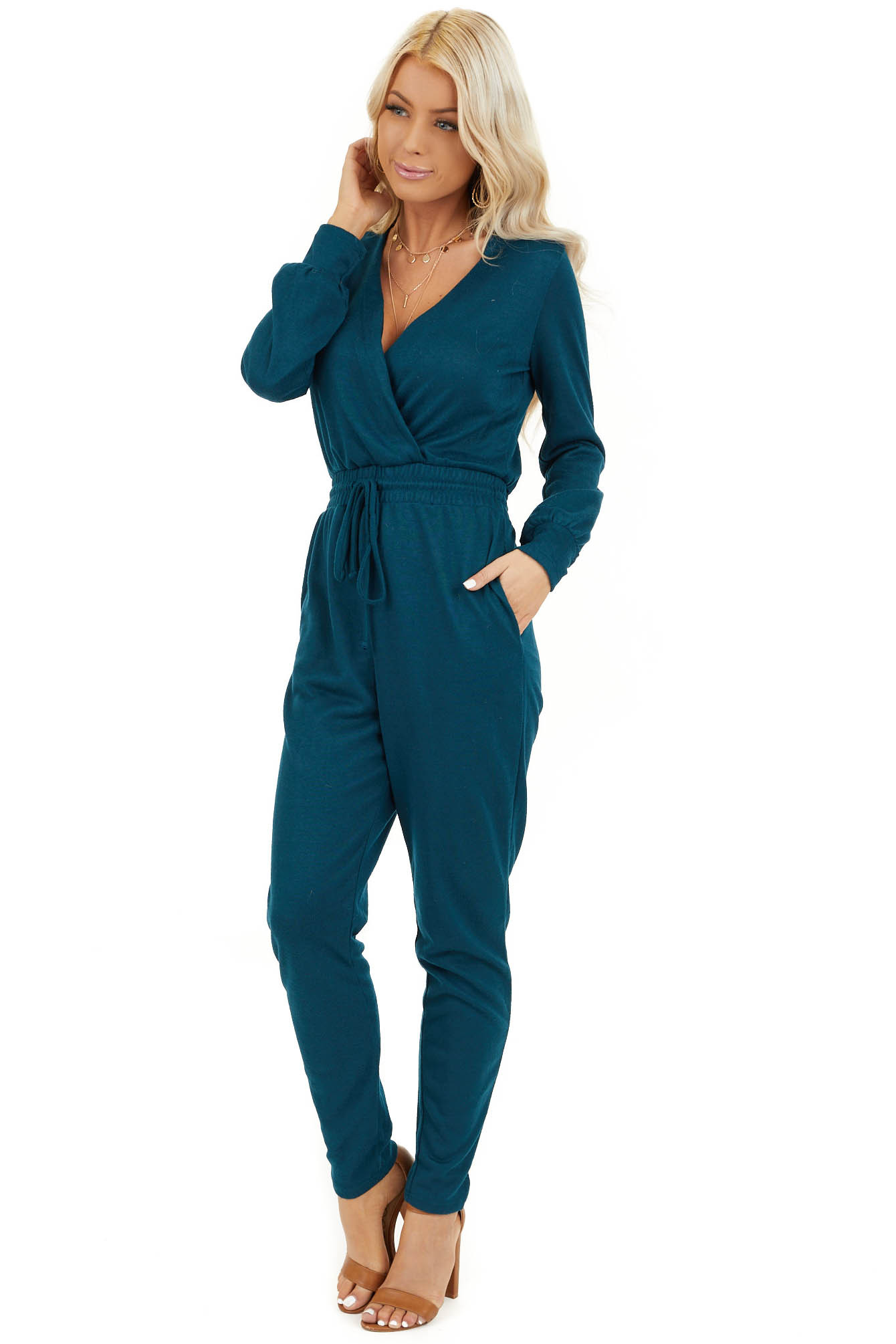 Teal V Neck Jumpsuit with Drawstring Waist and Long Sleeves front full body