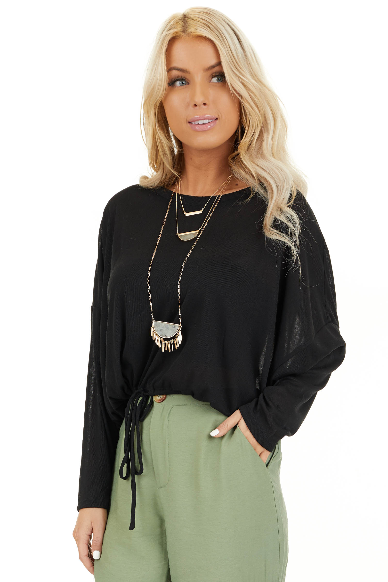 Black Long Sleeve Top with Adjustable Drawstring Hemline front close up
