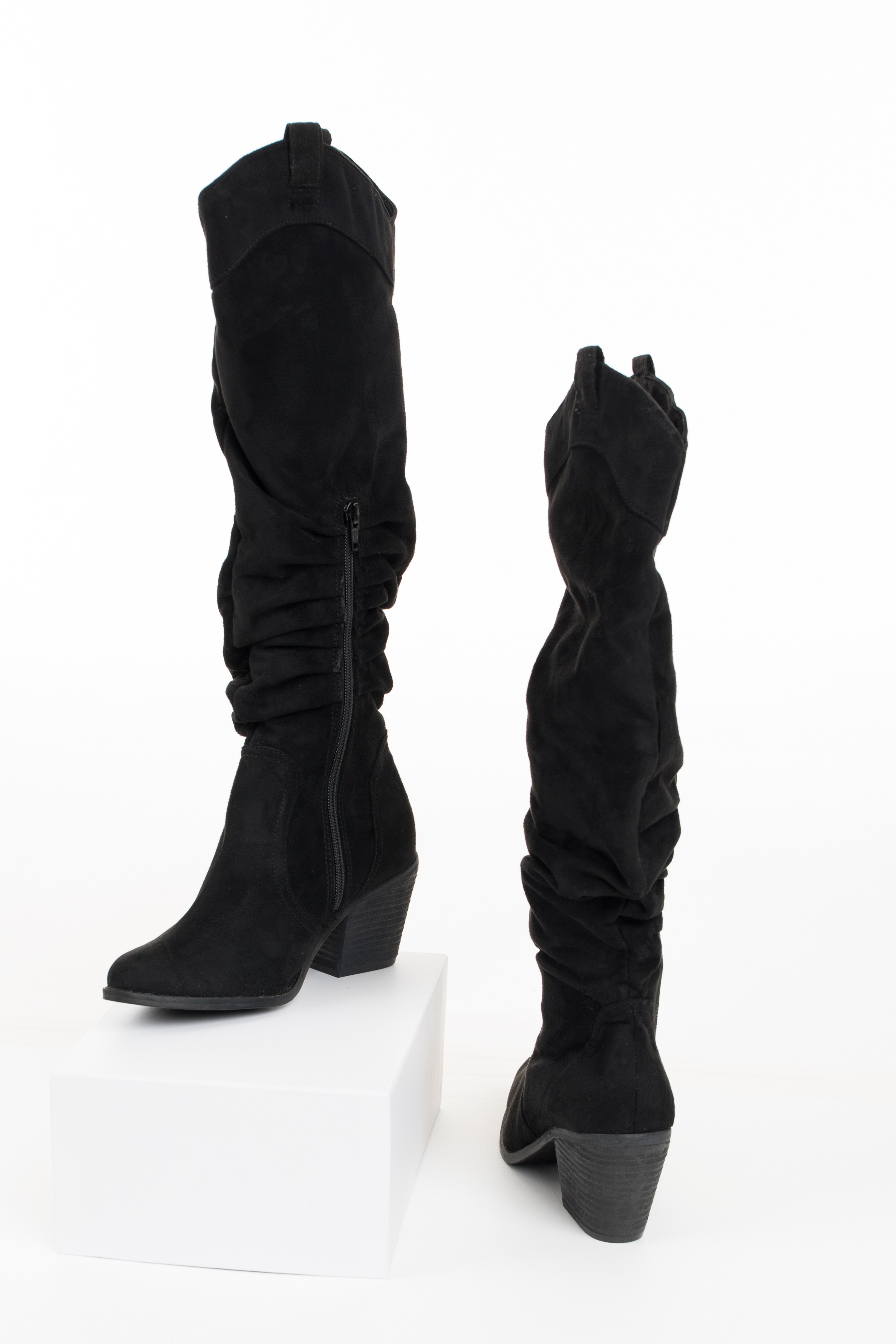 Black Faux Suede Gathered High Heel Boot