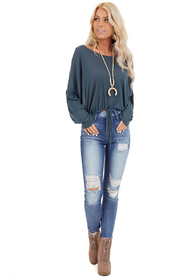 Teal Long Sleeve Top with Adjustable Drawstring Hemline front full body