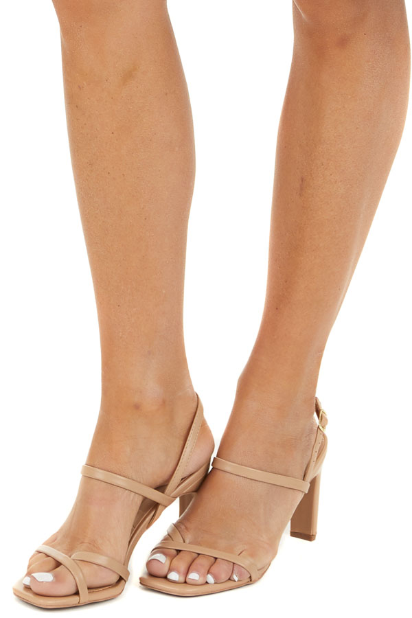 Desert Sand Square Toe Buckle Up Strappy High Heel Sandals side view