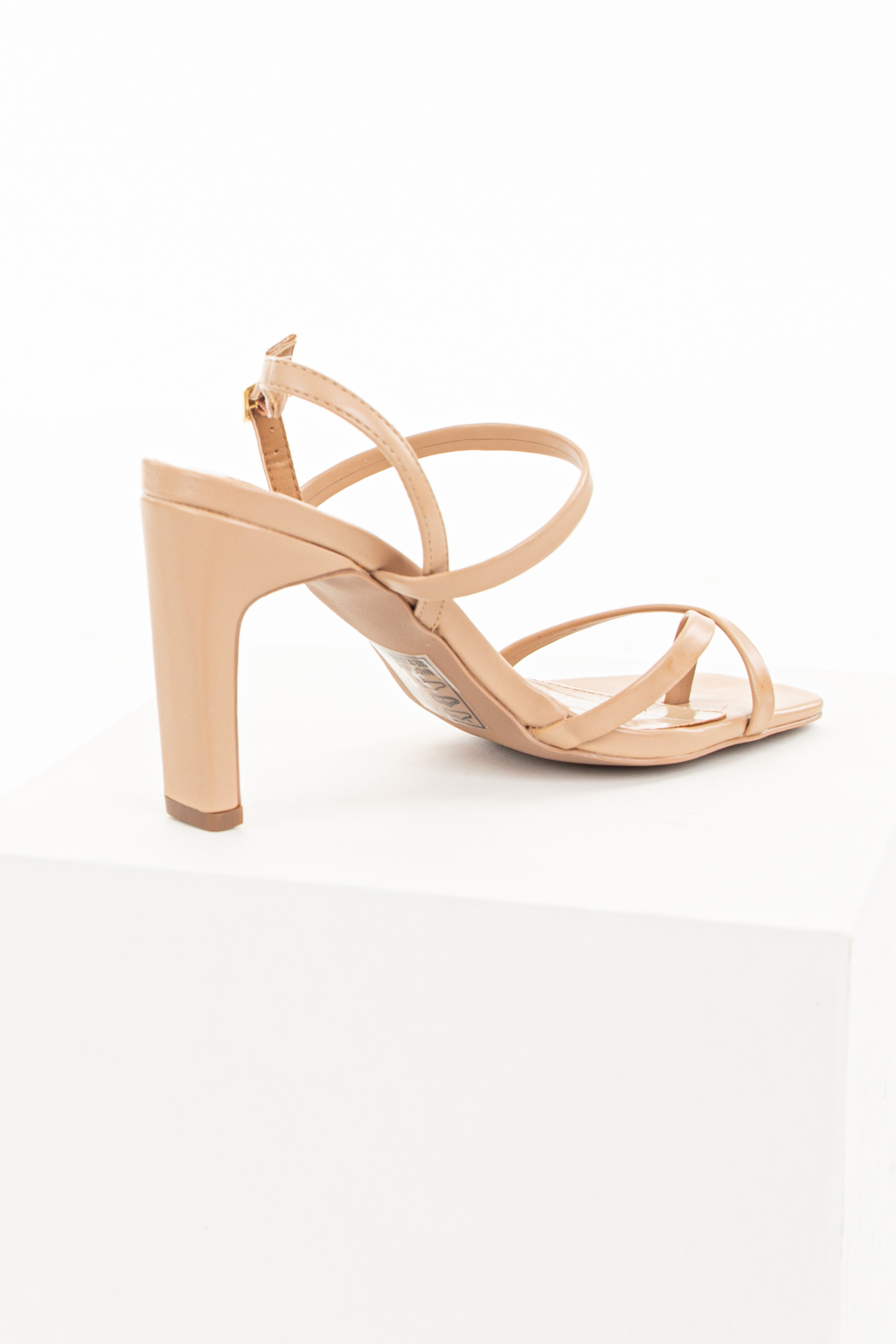 Desert Sand Square Toe Buckle Up Strappy High Heel Sandals