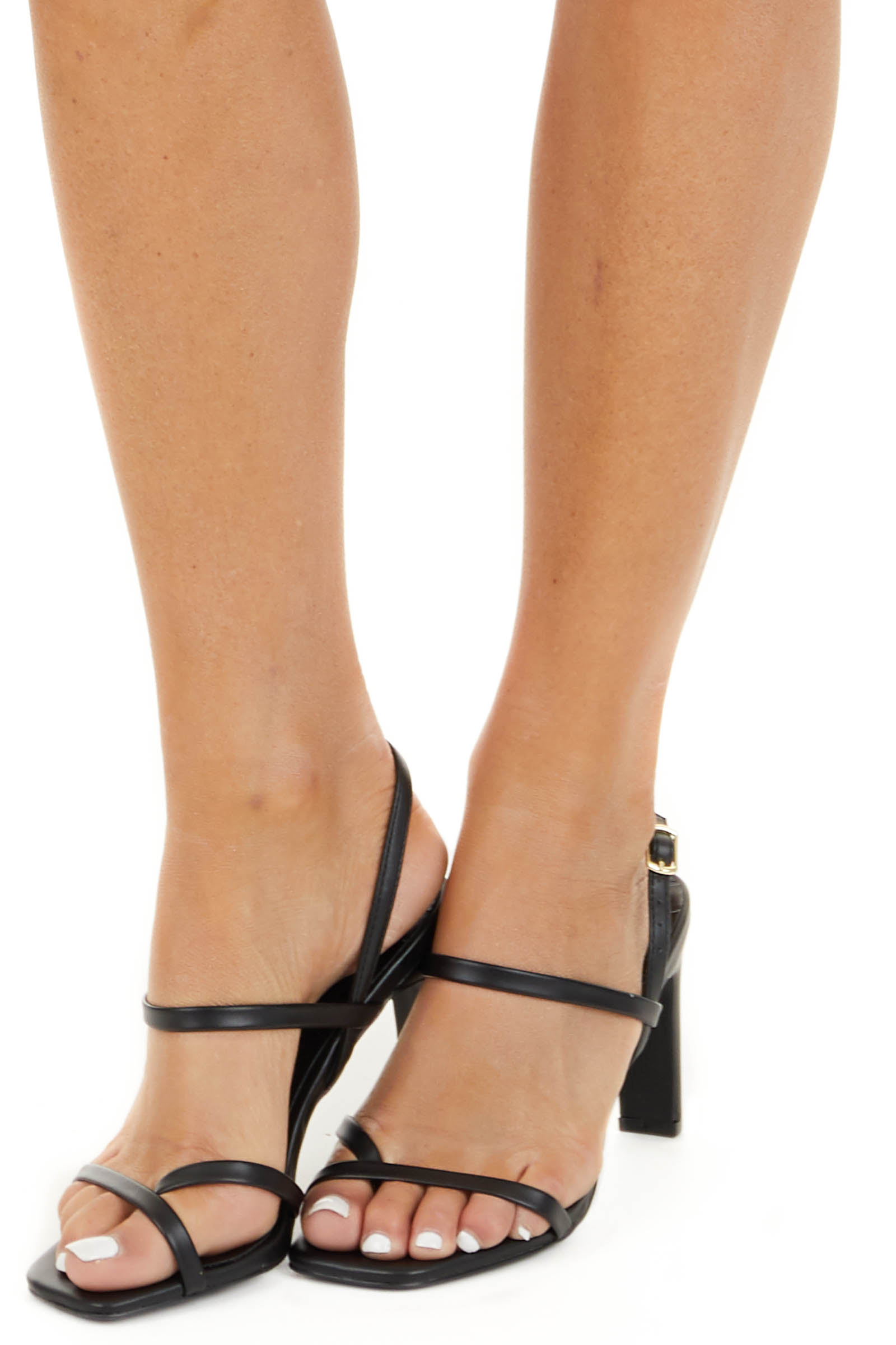Black Square Toe Buckle Up Strappy High Heel Sandals side view