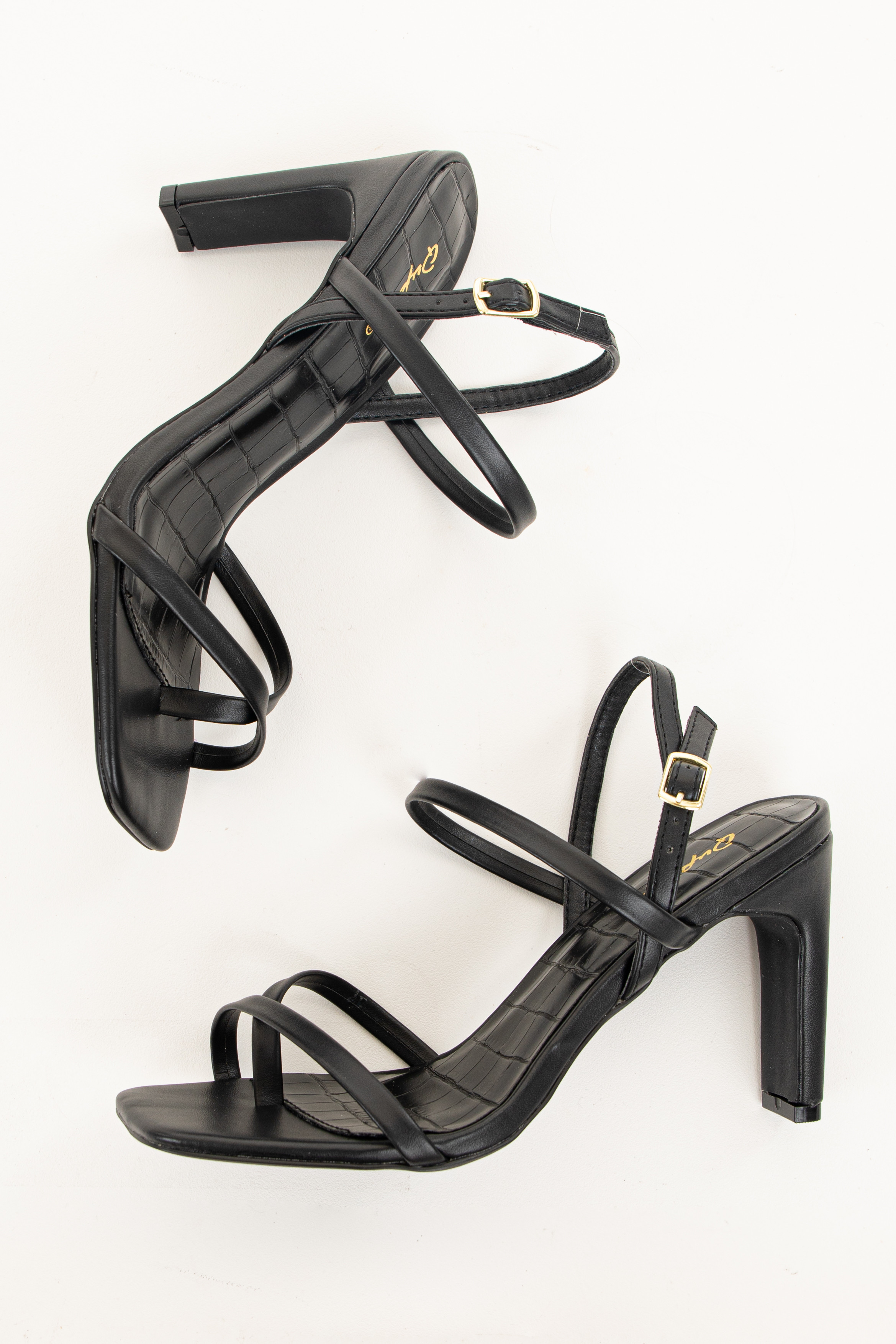 Black Square Toe Buckle Up Strappy High Heel Sandals