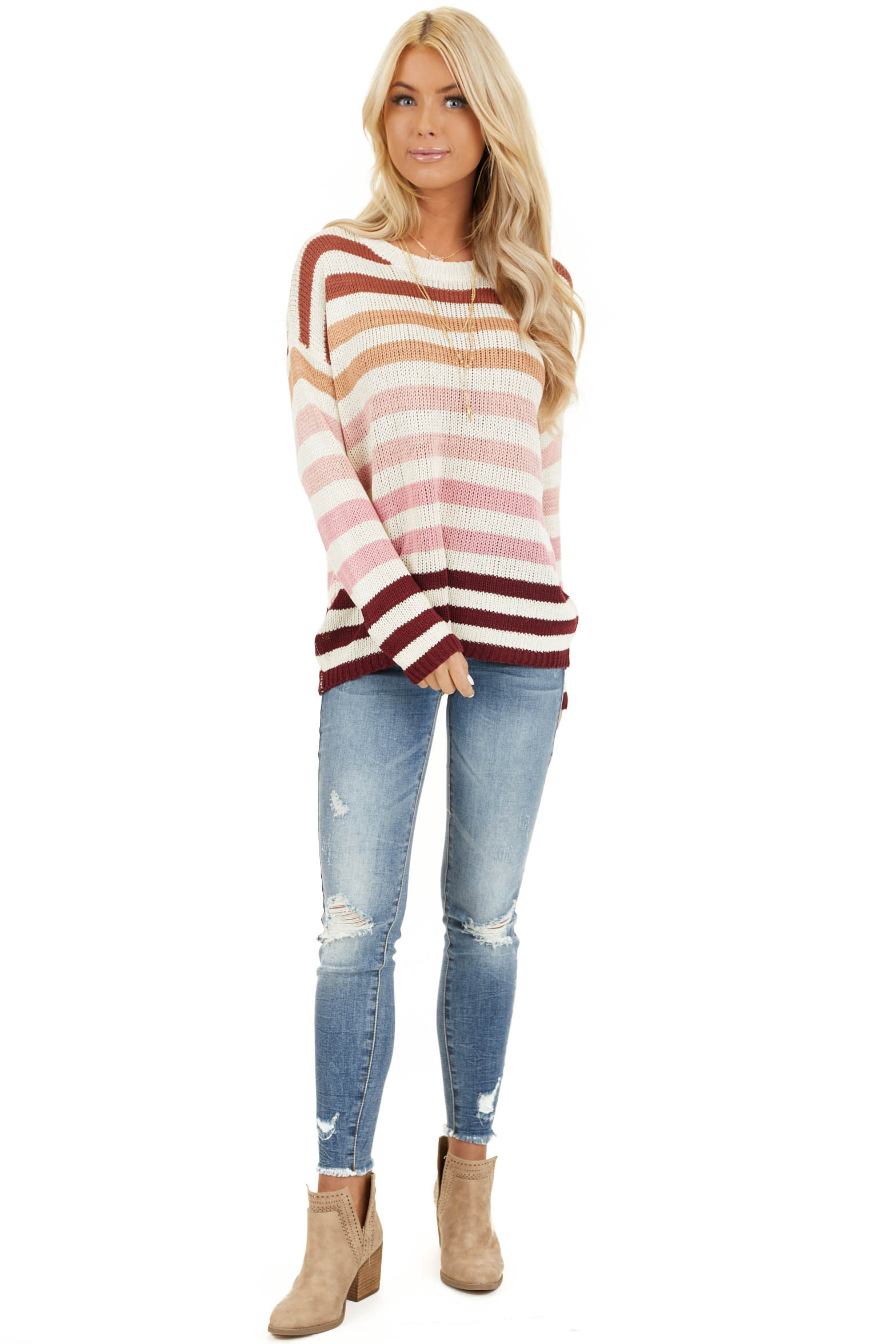 Taupe and Blush Multicolor Striped Loose Fit Knit Top front full body