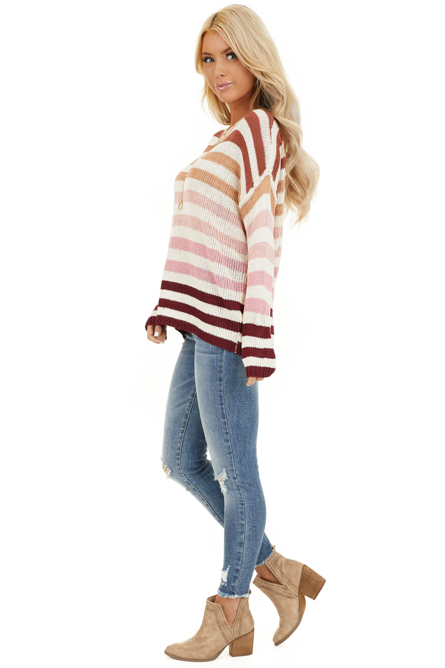 Taupe and Blush Multicolor Striped Loose Fit Knit Top side full body