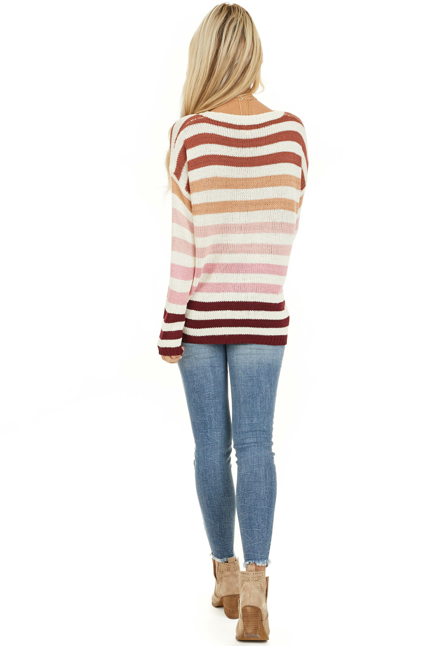 Taupe and Blush Multicolor Striped Loose Fit Knit Top back full body
