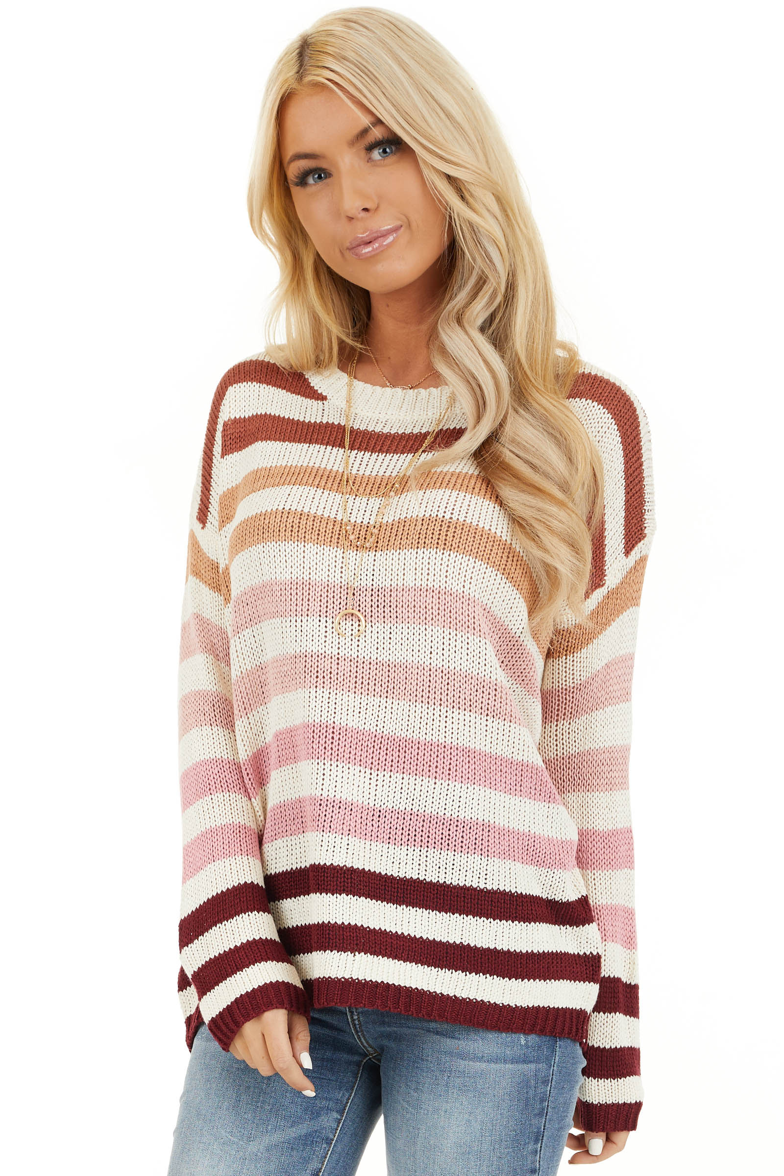 Taupe and Blush Multicolor Striped Loose Fit Knit Top front close up