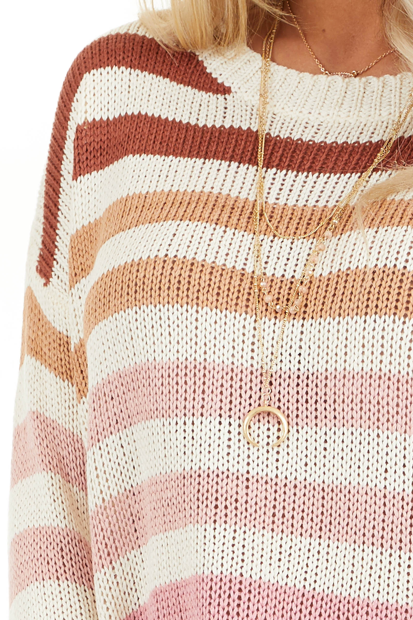 Taupe and Blush Multicolor Striped Loose Fit Knit Top detail