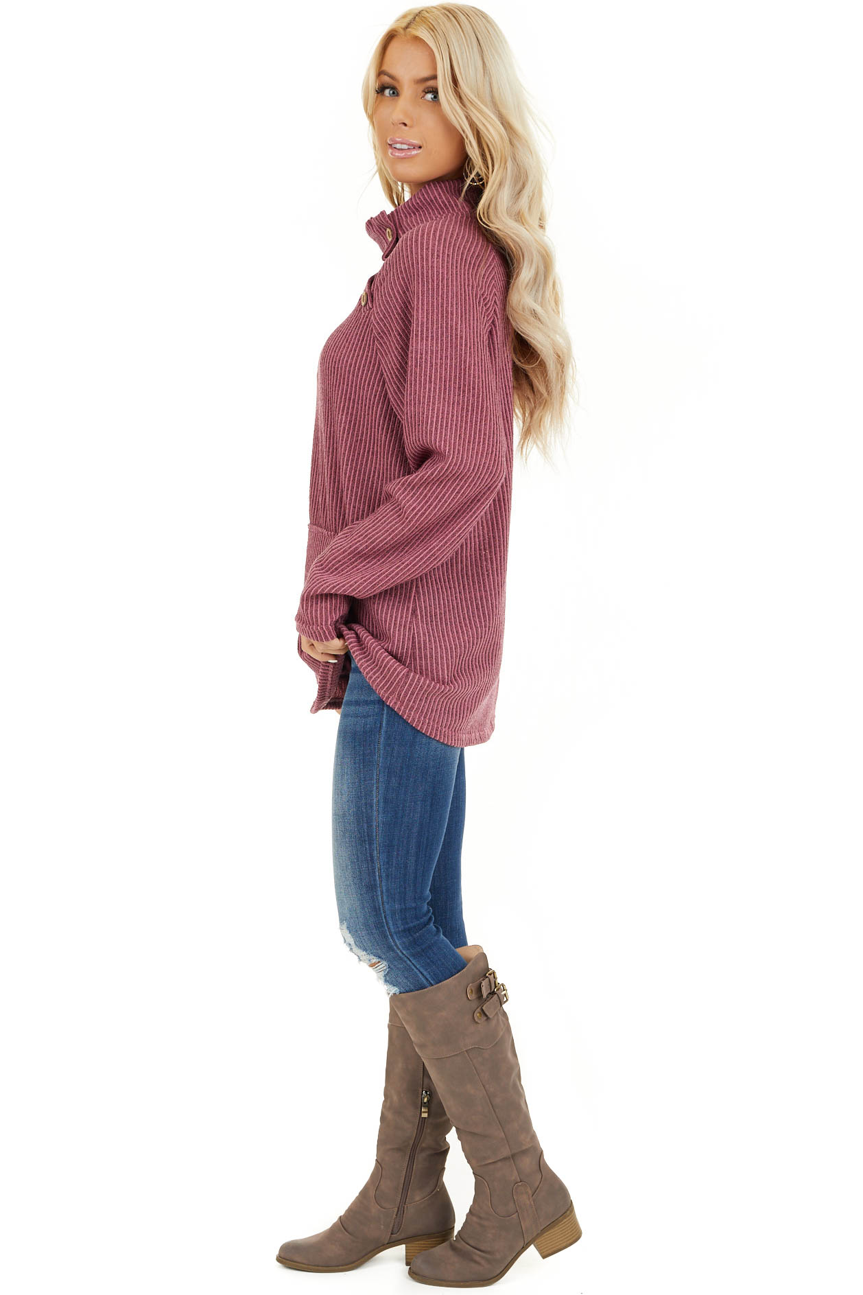 Dusty Mauve Ribbed Knit Mock Neck Top with Button Detail side full body