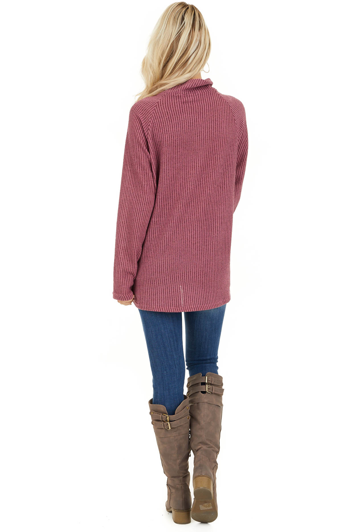 Dusty Mauve Ribbed Knit Mock Neck Top with Button Detail back full body