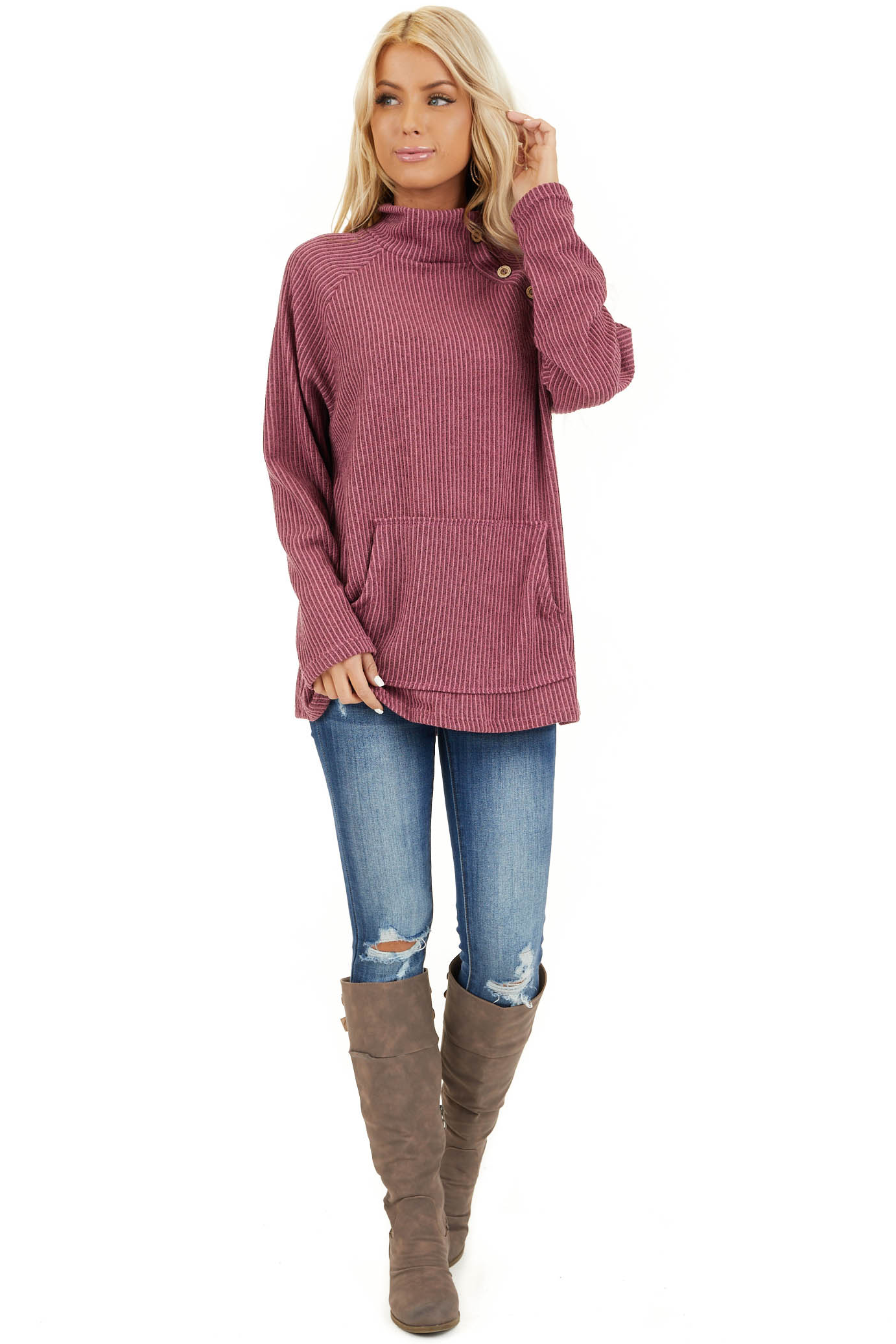 Dusty Mauve Ribbed Knit Mock Neck Top with Button Detail front full body
