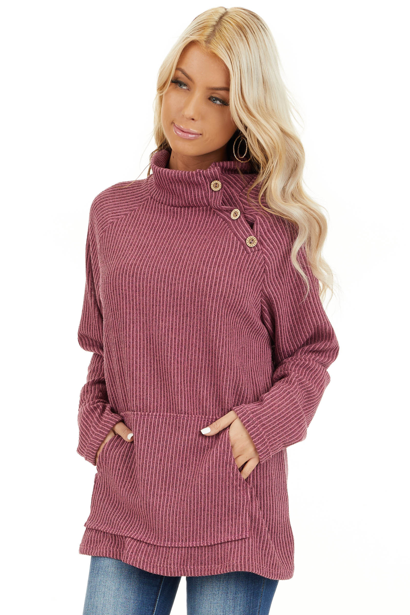 Dusty Mauve Ribbed Knit Mock Neck Top with Button Detail front close up