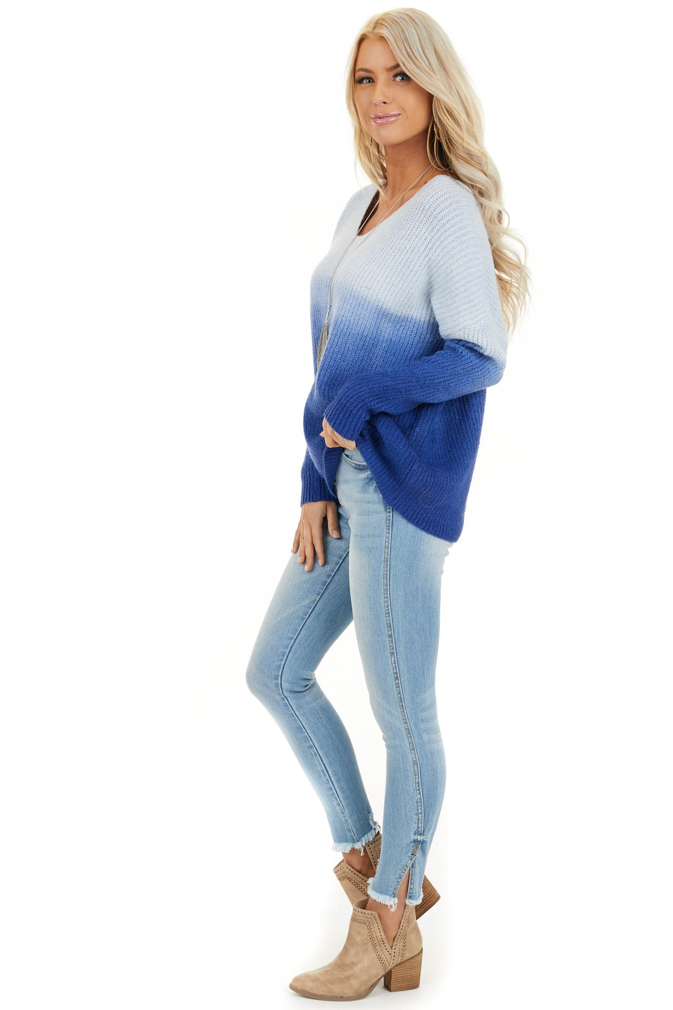 Cobalt Blue Ombre Long Sleeve V Neck Knit Sweater side full body
