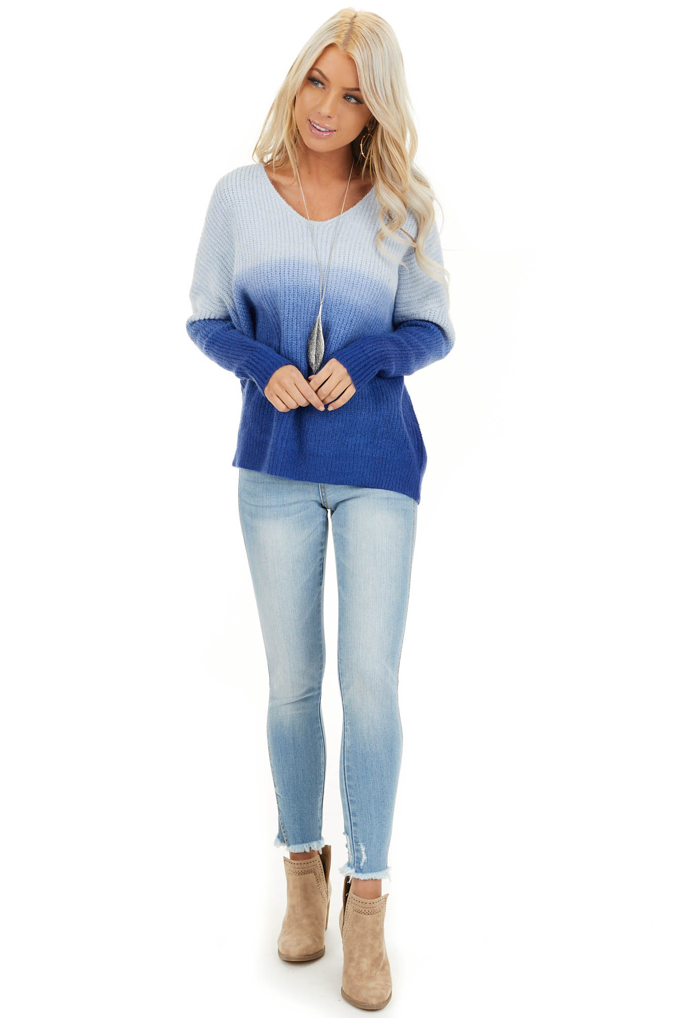 Cobalt Blue Ombre Long Sleeve V Neck Knit Sweater front full body