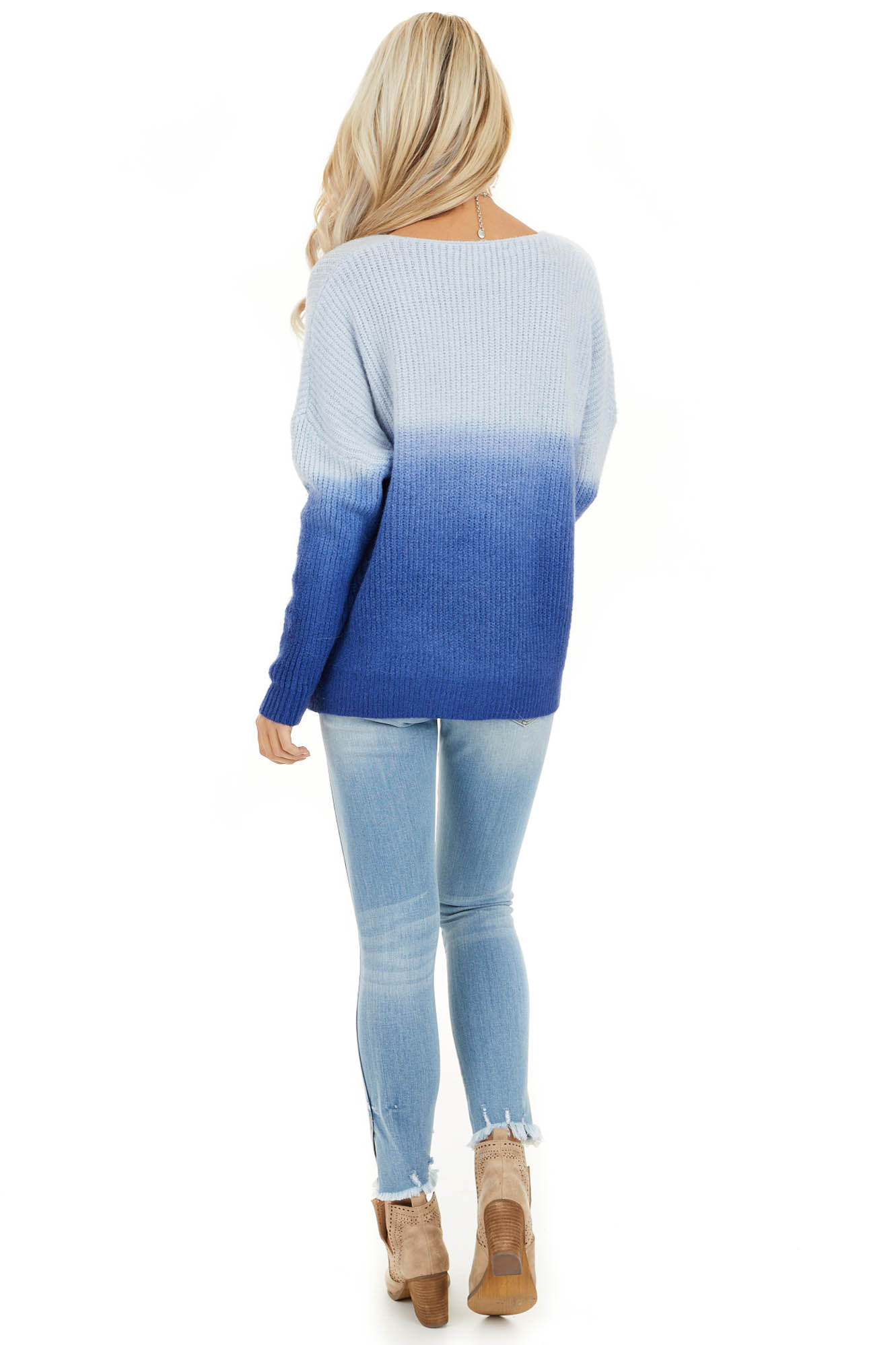 Cobalt Blue Ombre Long Sleeve V Neck Knit Sweater back full body
