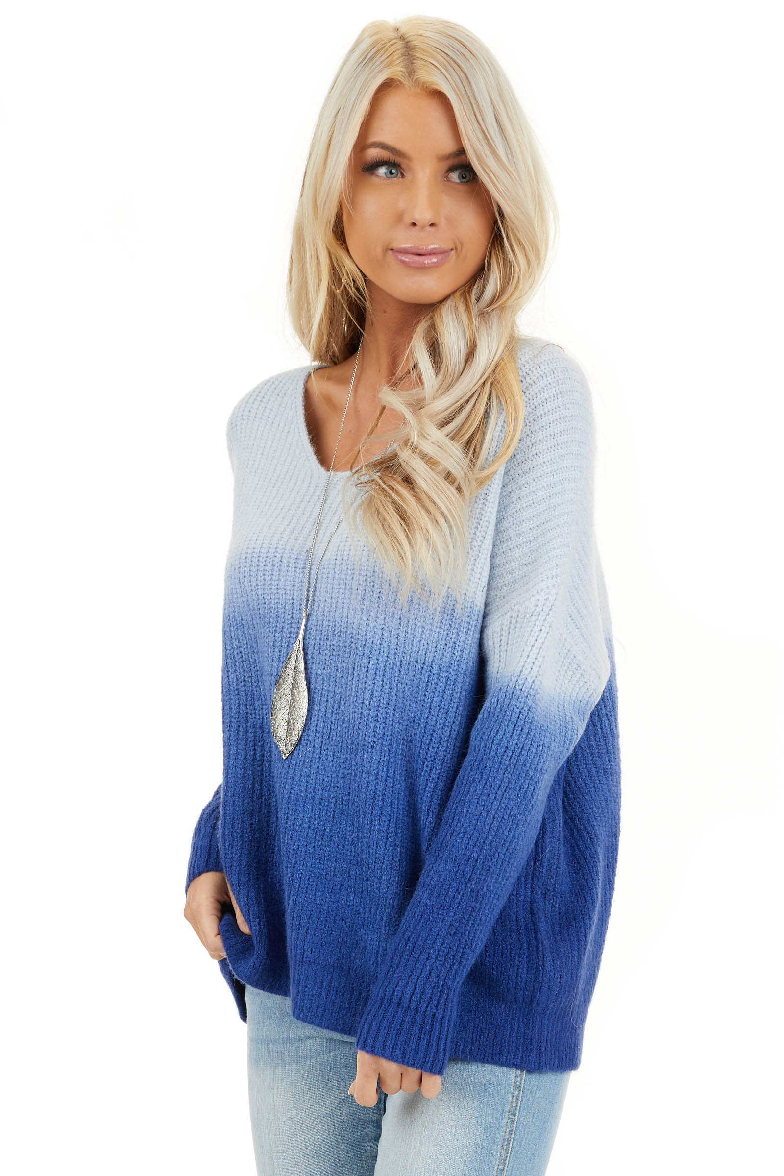Cobalt Blue Ombre Long Sleeve V Neck Knit Sweater front close up