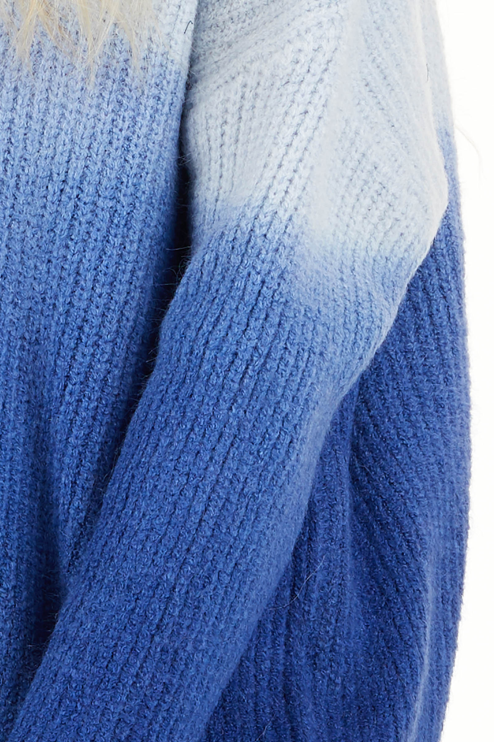 Cobalt Blue Ombre Long Sleeve V Neck Knit Sweater detail