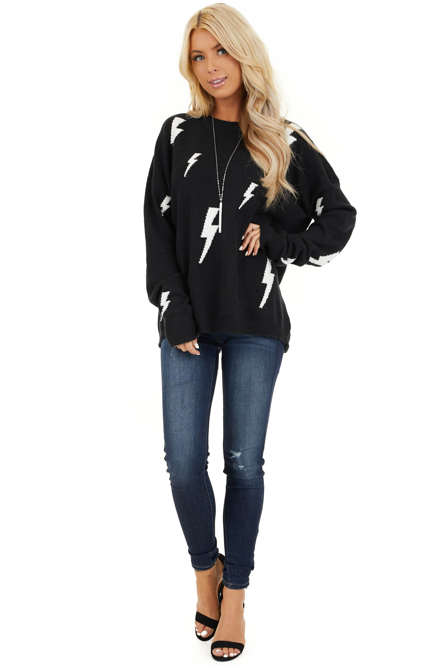 Black Long Sleeve Pullover Sweater with Lightning Bolt Print front full body
