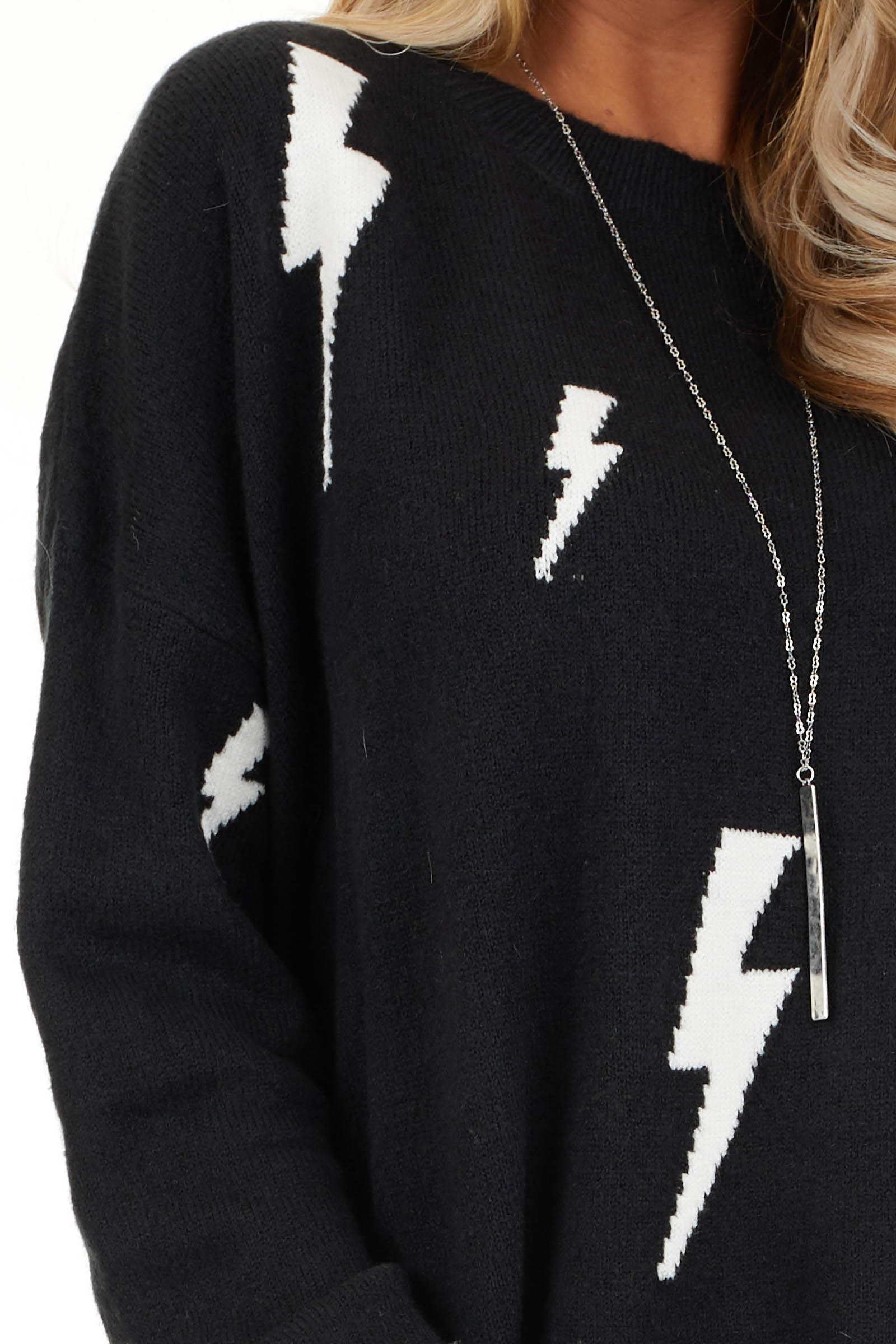 Black Long Sleeve Pullover Sweater with Lightning Bolt Print detail