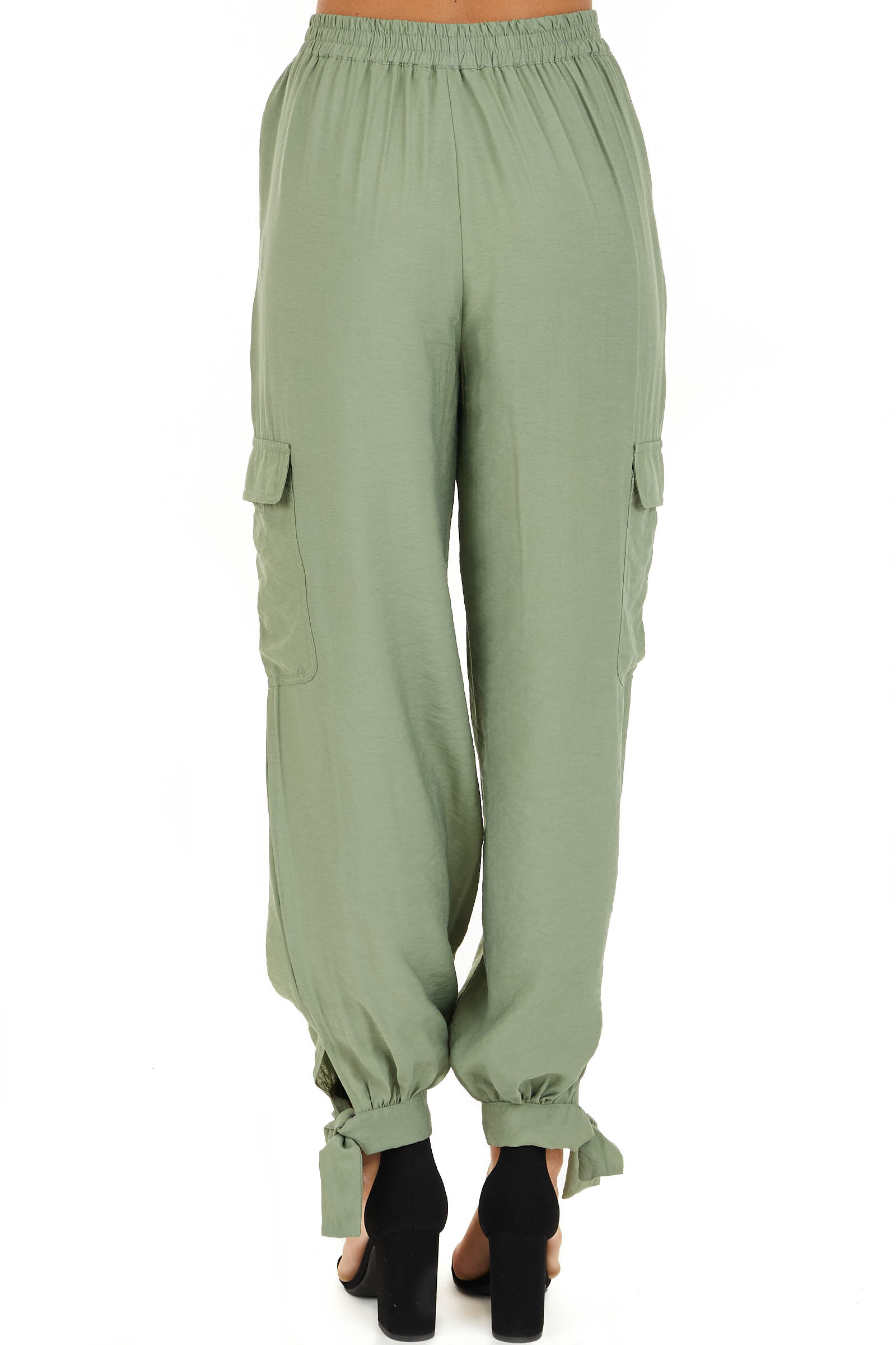 Pistachio Green High Waisted Cargo Pants with Ankle Ties back view