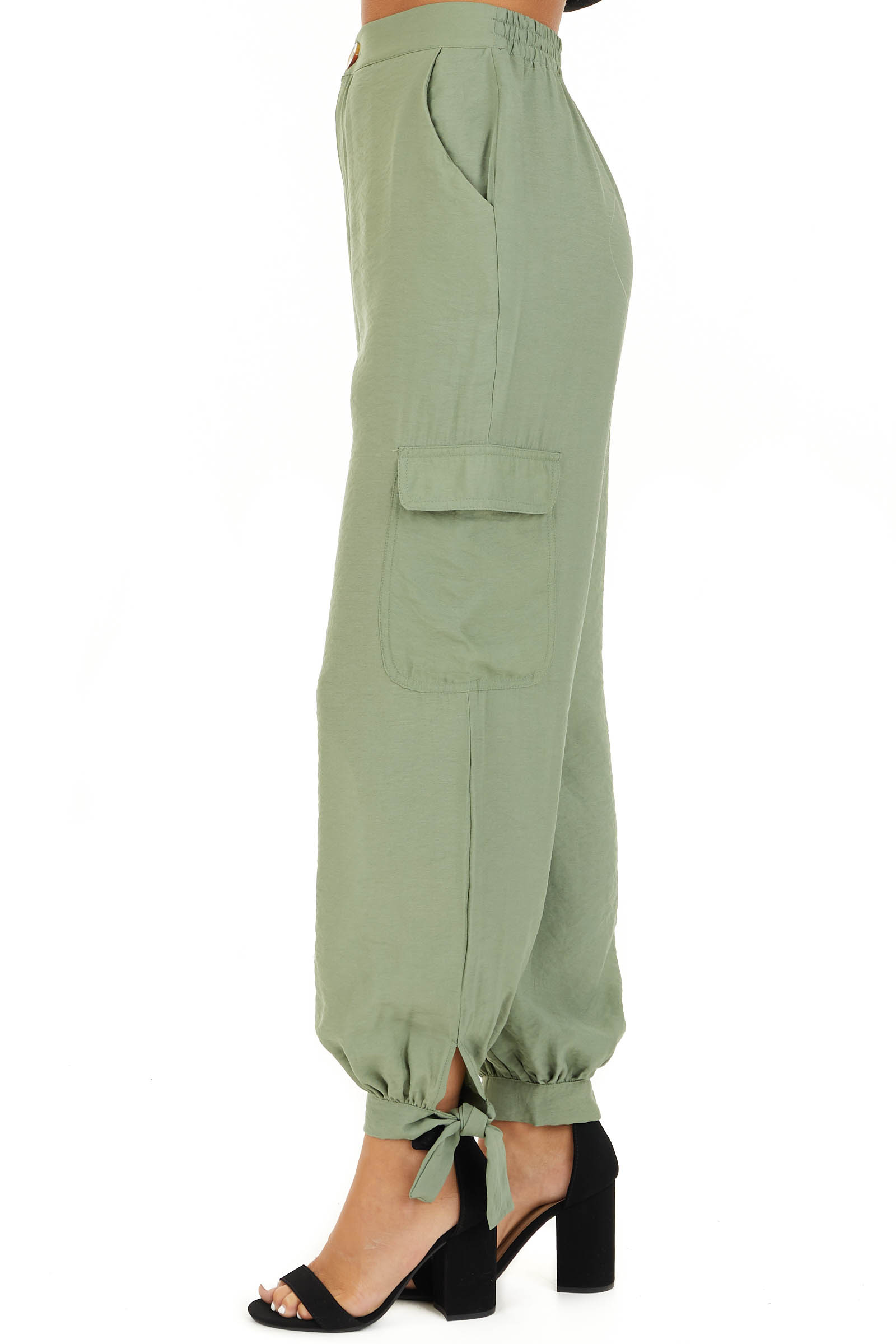 Pistachio Green High Waisted Cargo Pants with Ankle Ties side view