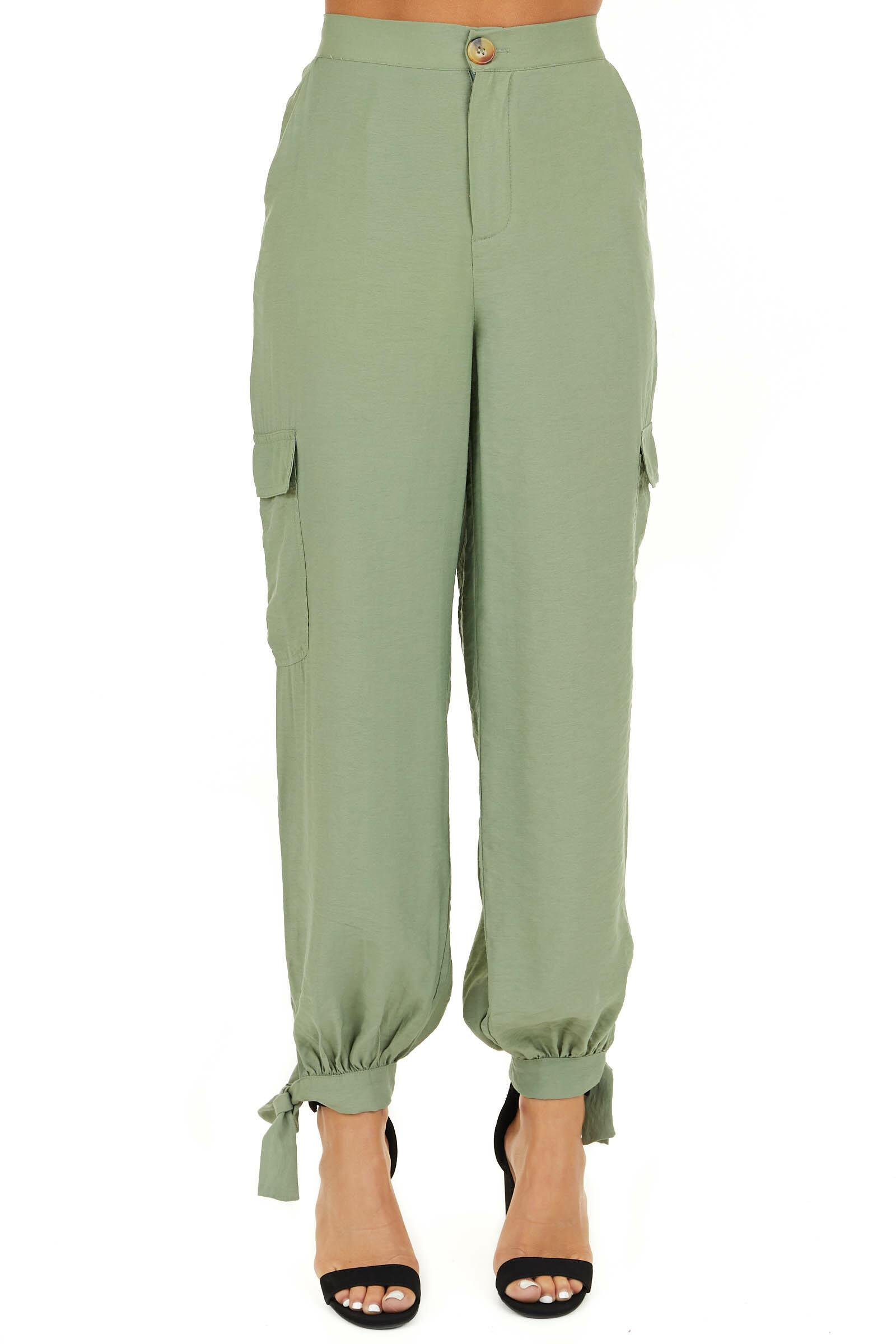 Pistachio Green High Waisted Cargo Pants with Ankle Ties front view