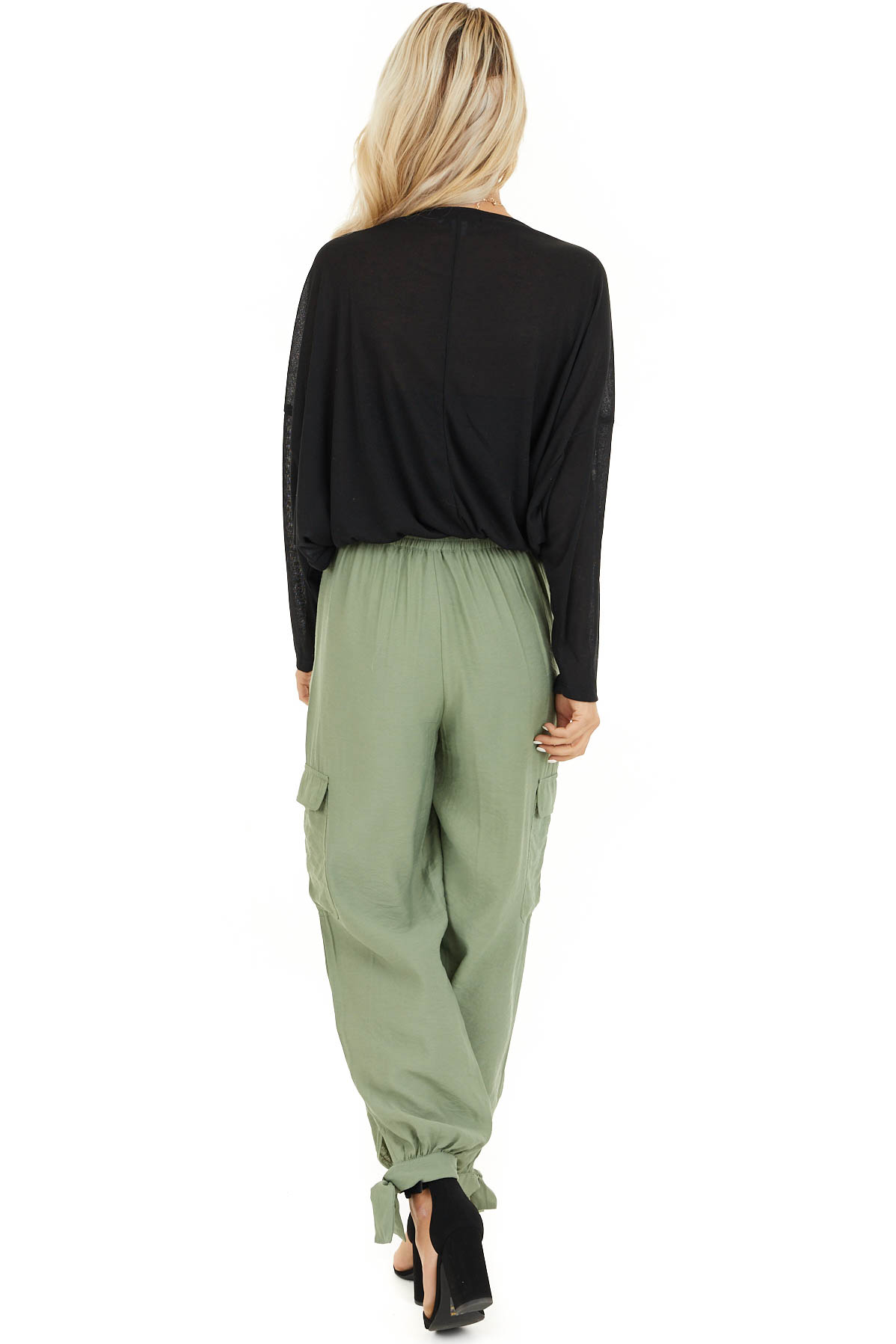 Pistachio Green High Waisted Cargo Pants with Ankle Ties back full body