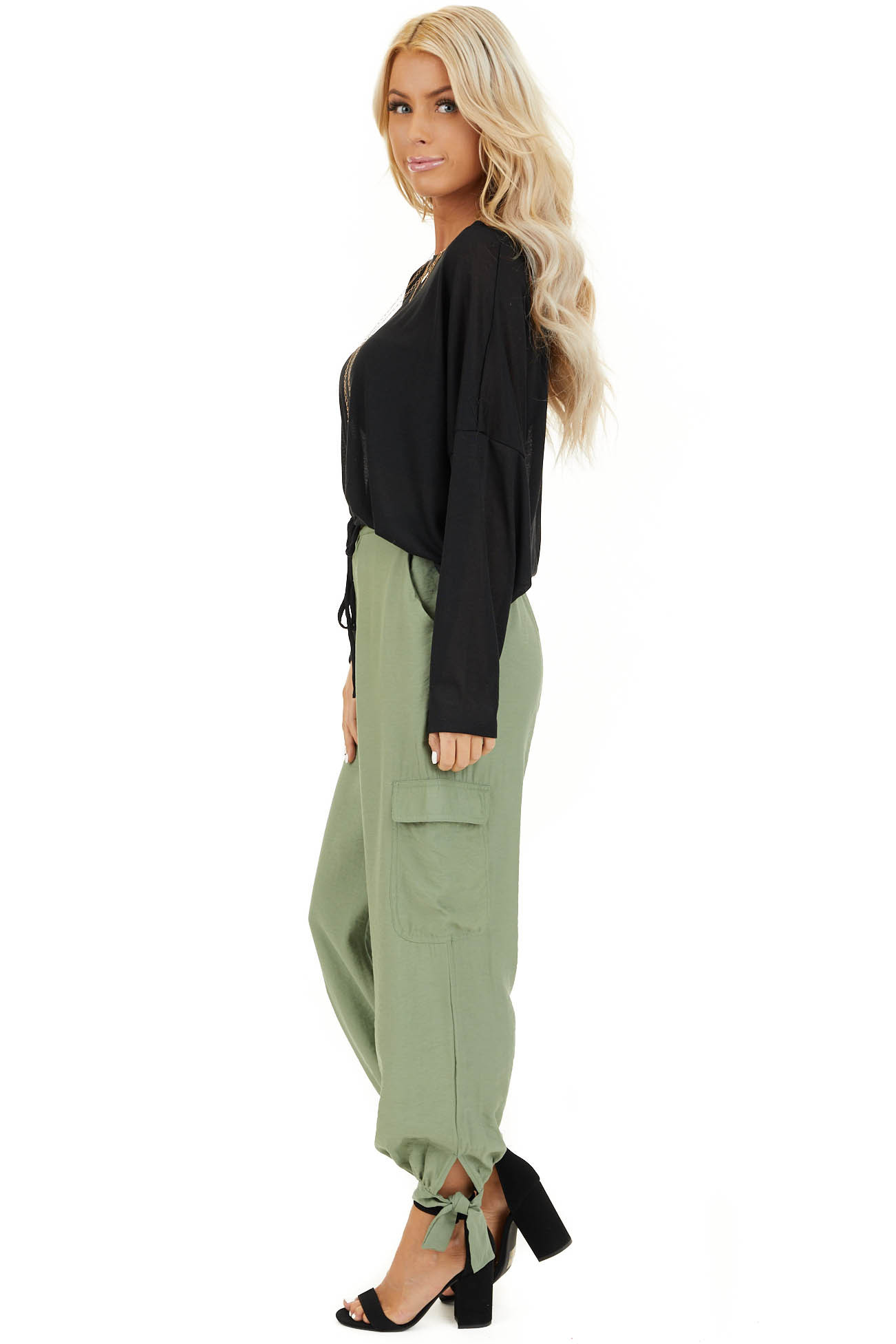 Pistachio Green High Waisted Cargo Pants with Ankle Ties side full body