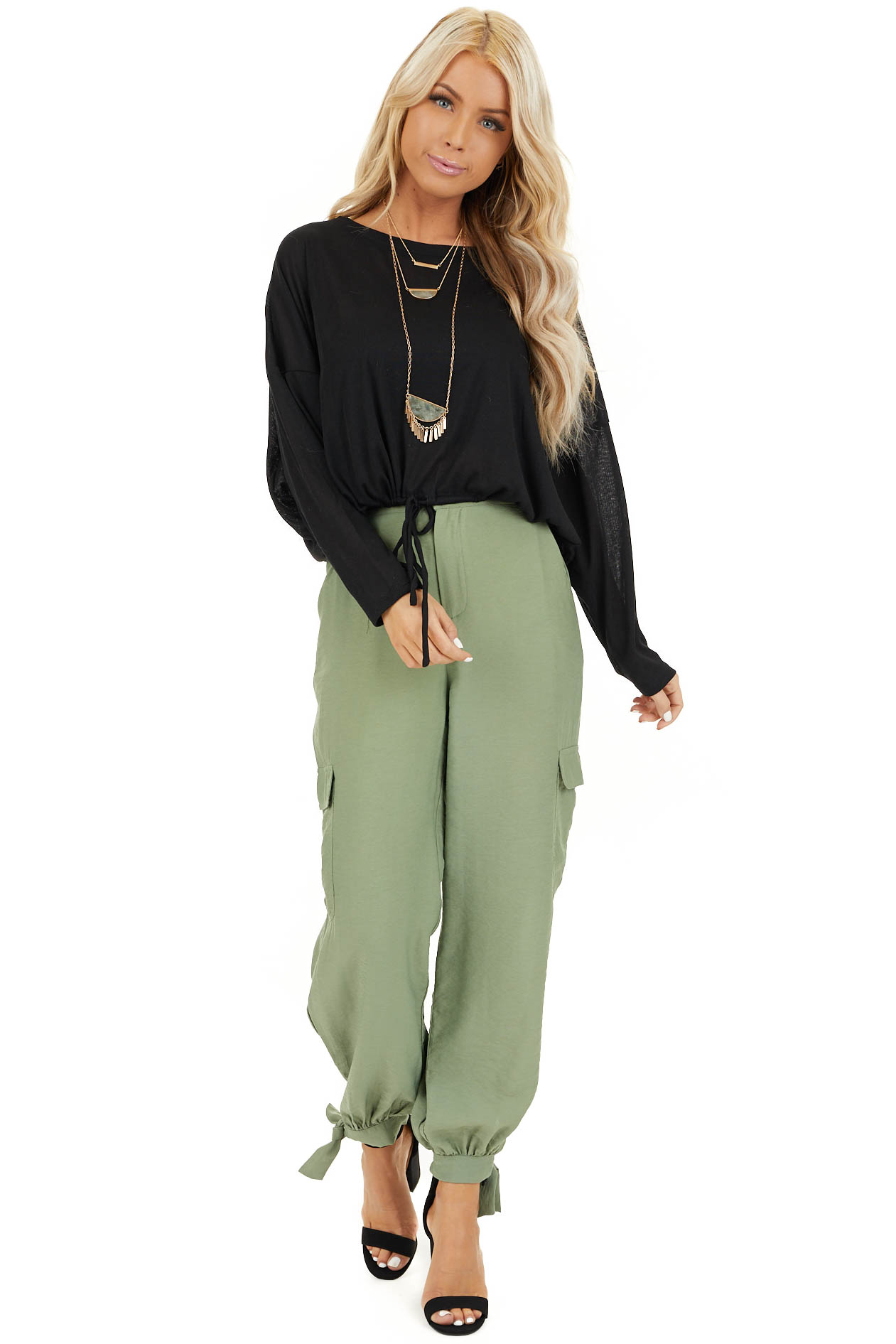 Pistachio Green High Waisted Cargo Pants with Ankle Ties front full body