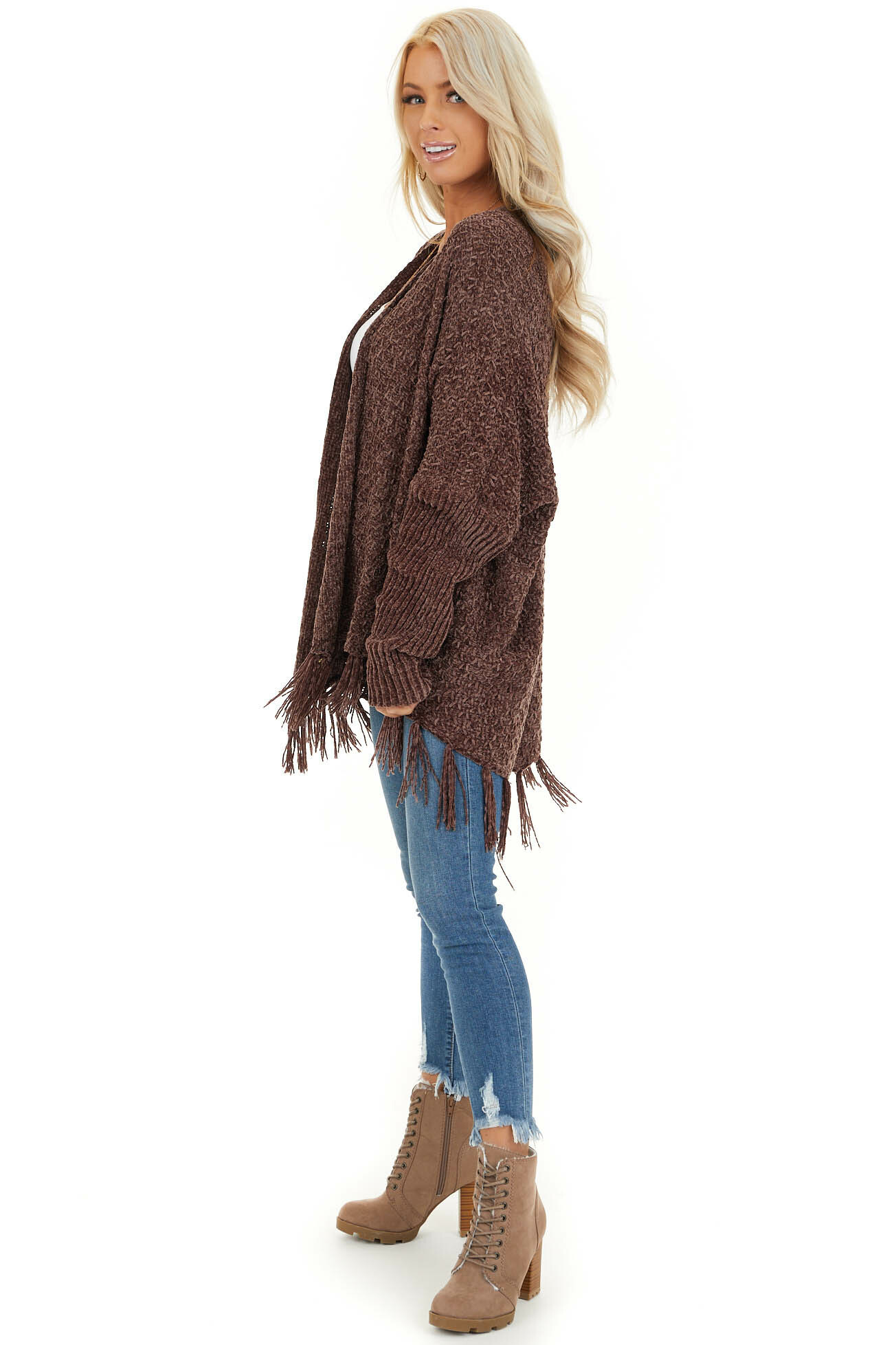 Chocolate Open Front Chenille Cardigan with Tassels side full body