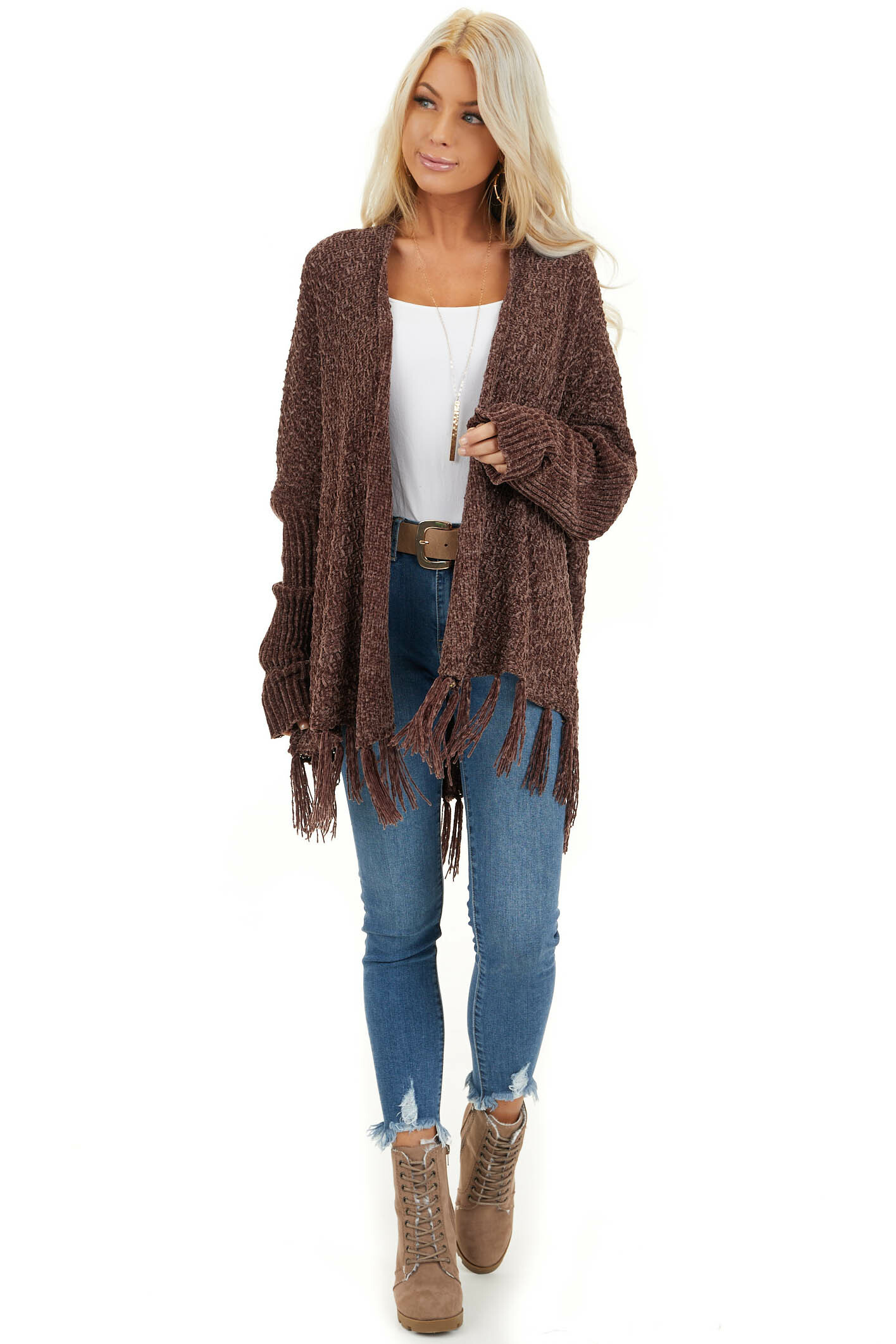 Chocolate Open Front Chenille Cardigan with Tassels front full body