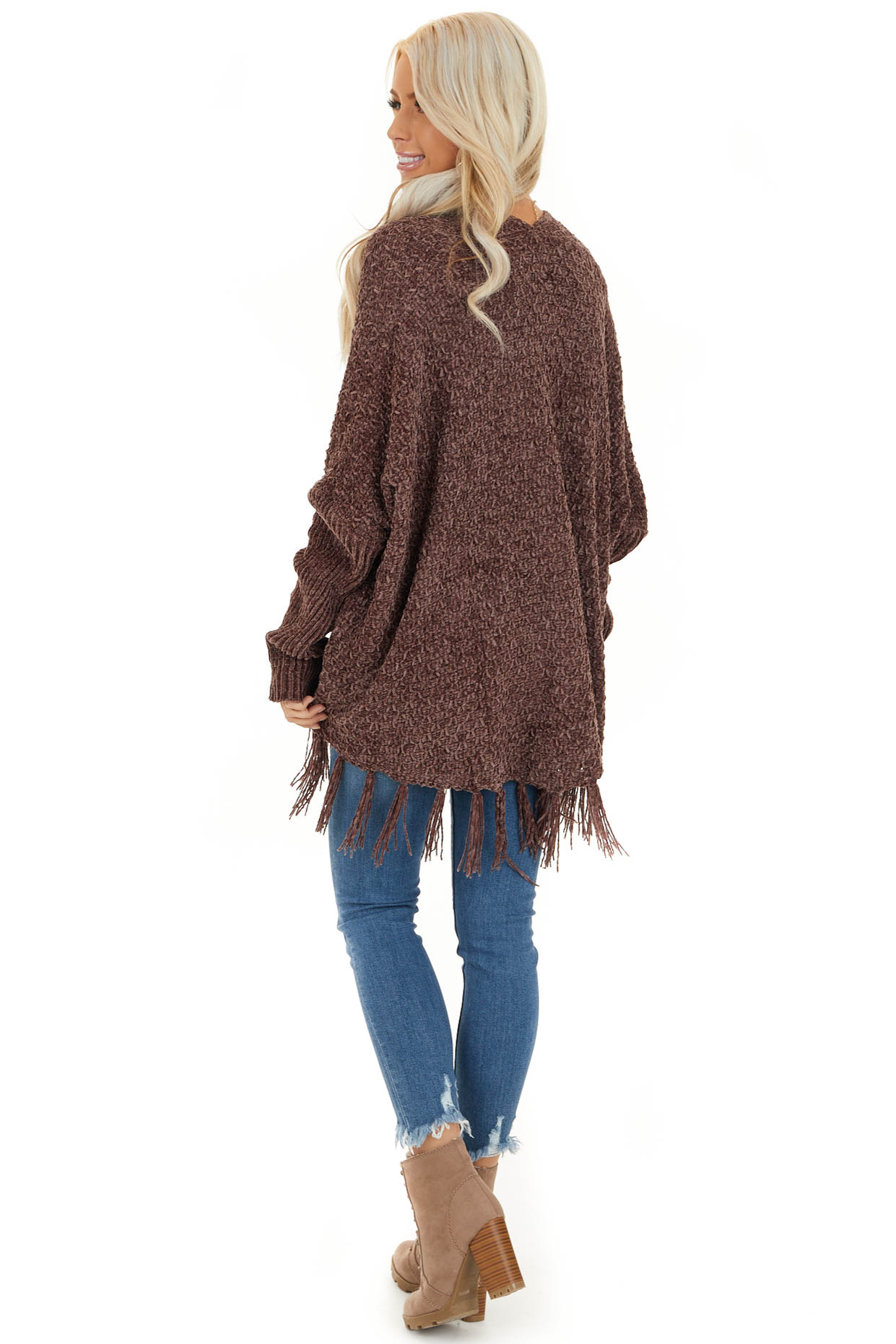 Chocolate Open Front Chenille Cardigan with Tassels back full body