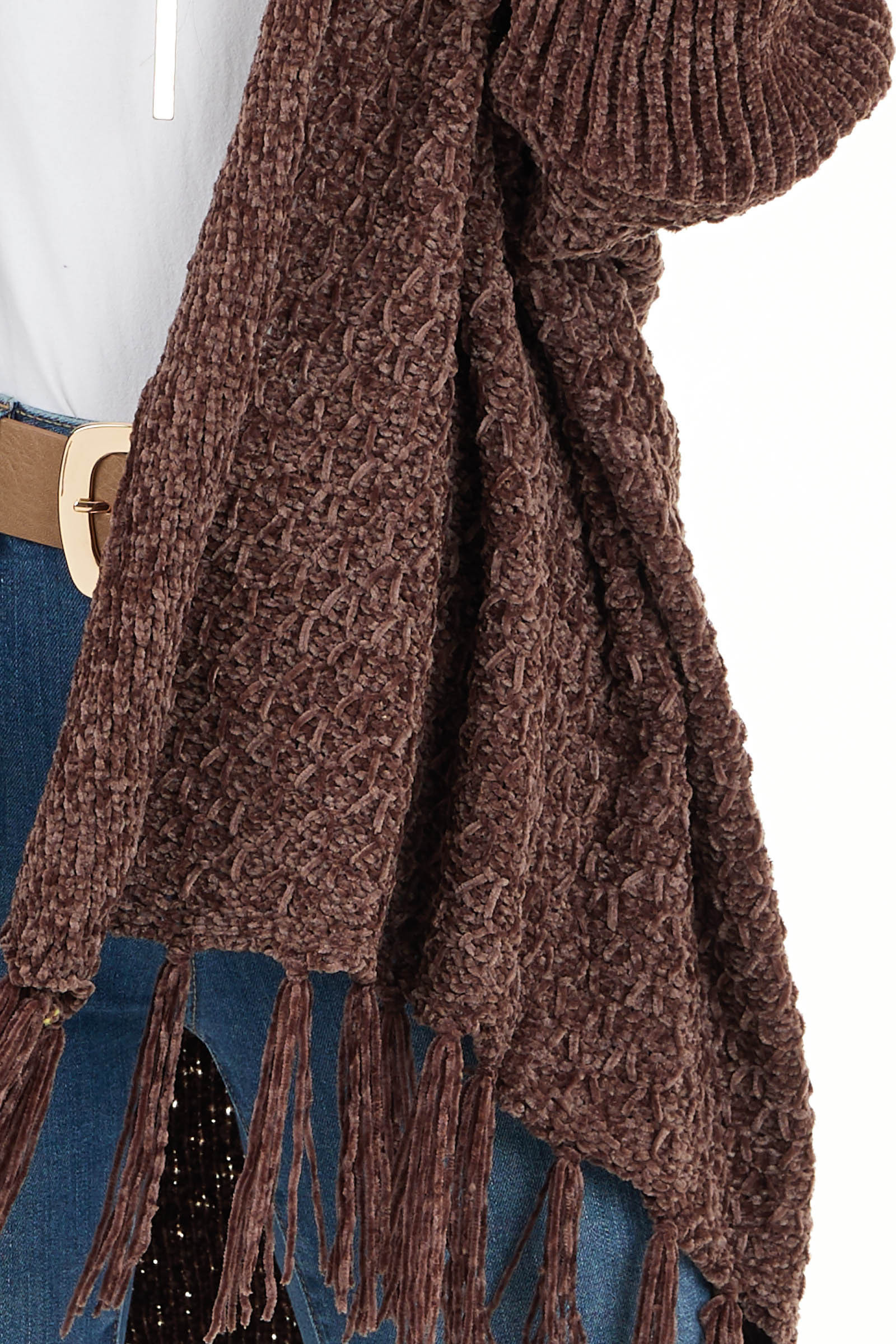 Chocolate Open Front Chenille Cardigan with Tassels detail