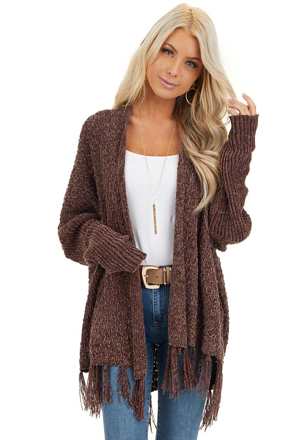 Chocolate Open Front Chenille Cardigan with Tassels