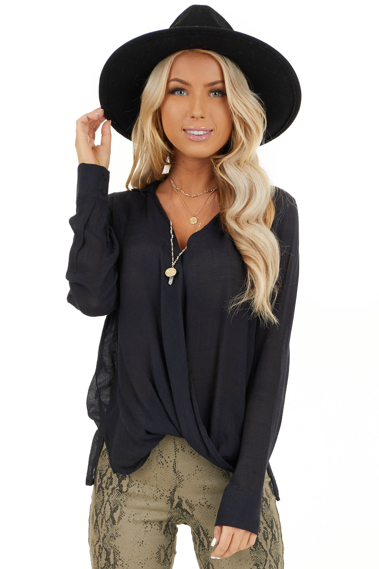 Black V Neck Surplice Top with Long Sleeves and Collar front close up