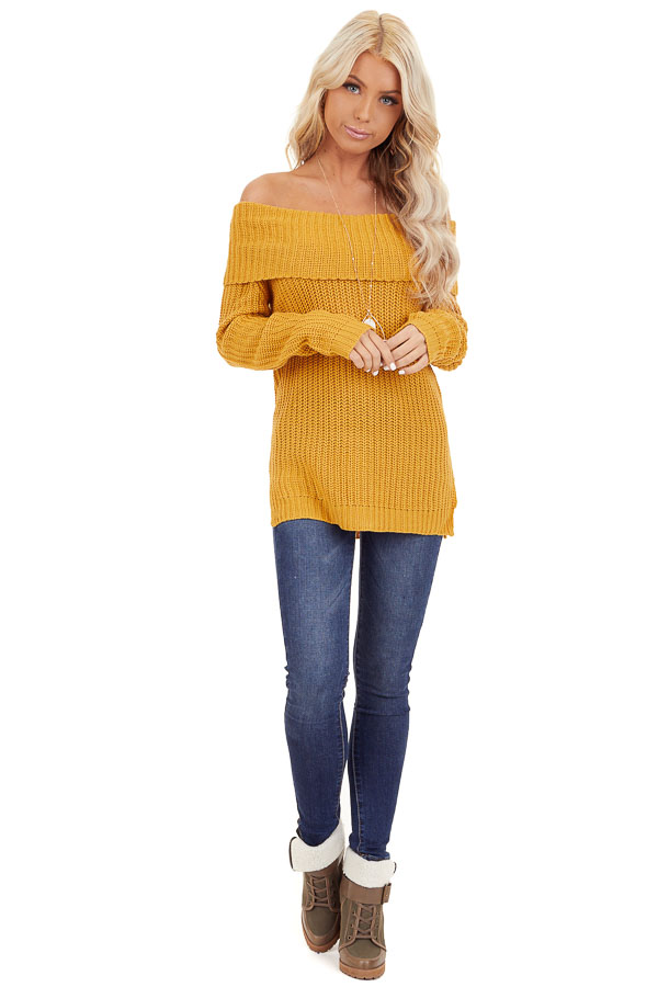 Mustard Off Shoulder Cable Knit Sweater with Long Sleeves front full body