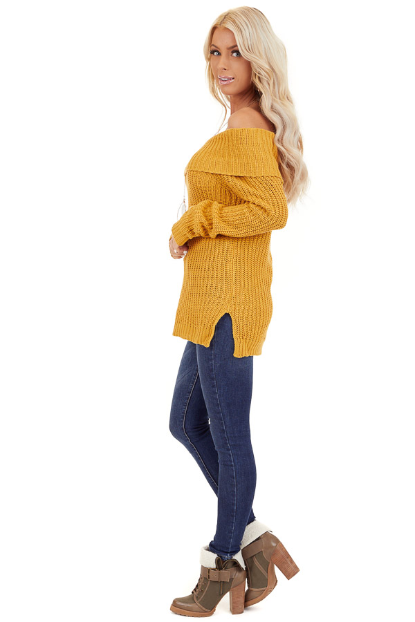 Mustard Off Shoulder Cable Knit Sweater with Long Sleeves side full body