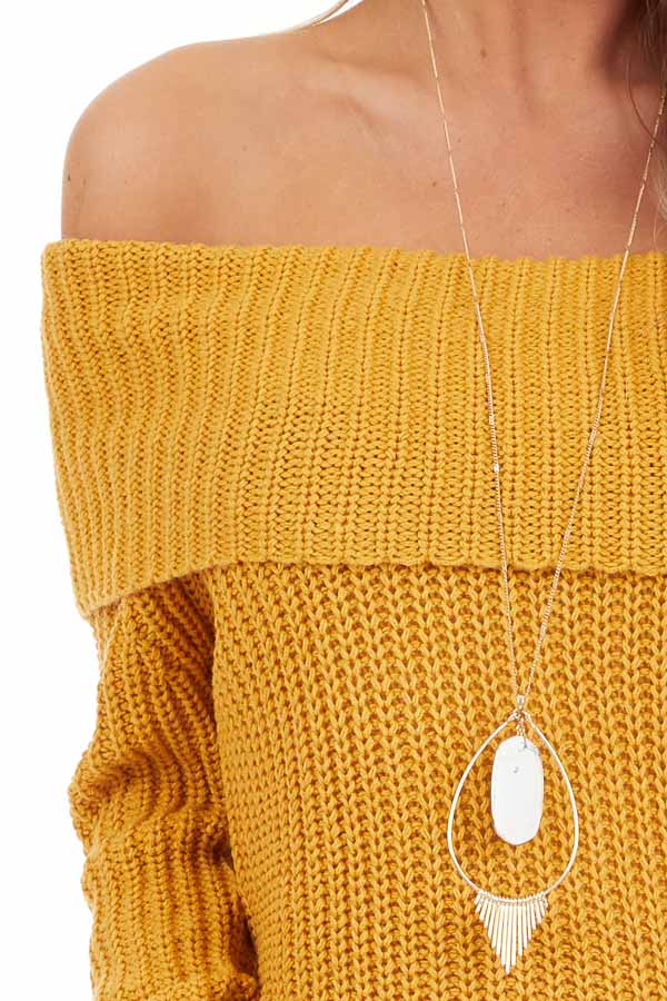 Mustard Off Shoulder Cable Knit Sweater with Long Sleeves detail