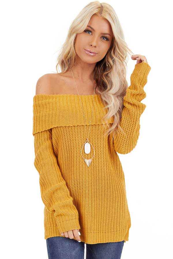 Mustard Off Shoulder Cable Knit Sweater with Long Sleeves front close up