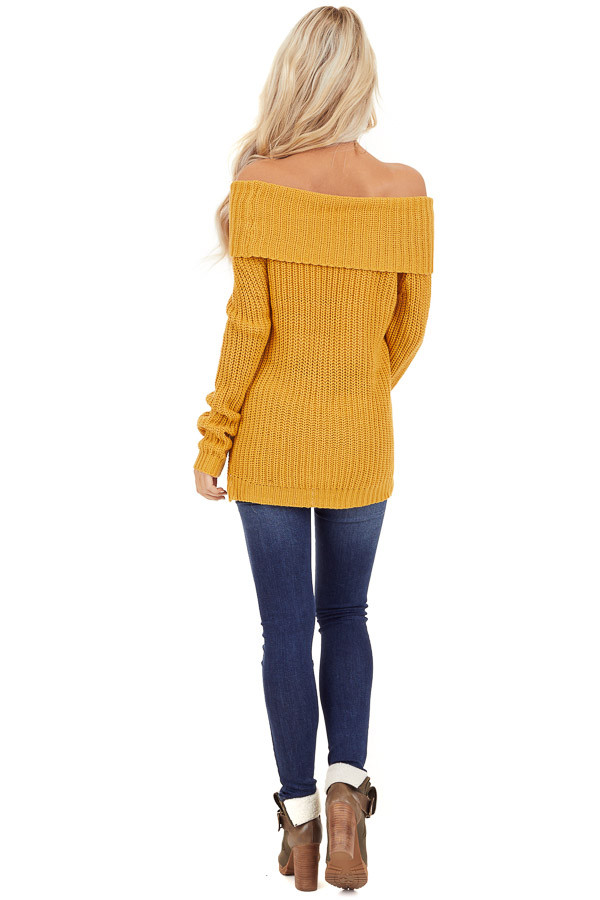 Mustard Off Shoulder Cable Knit Sweater with Long Sleeves back full body