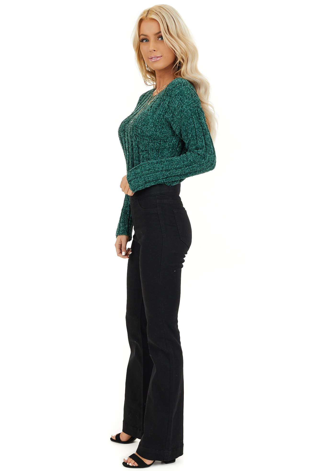 Forest Green Cropped Chenille Sweater with Long Sleeves side full body