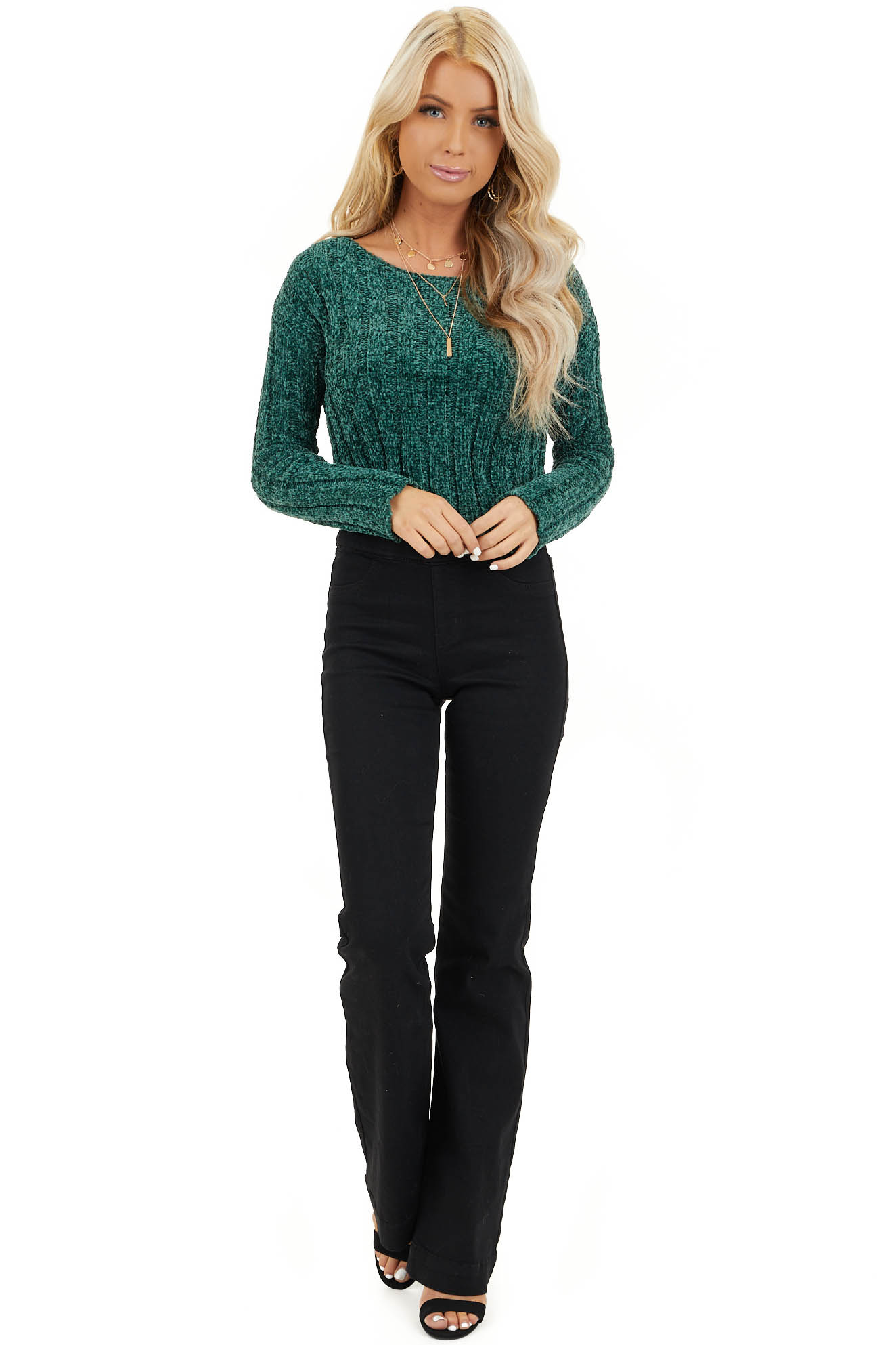 Forest Green Cropped Chenille Sweater with Long Sleeves front full body