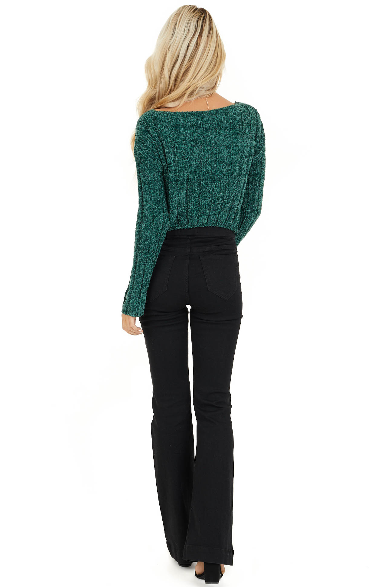 Forest Green Cropped Chenille Sweater with Long Sleeves back full body