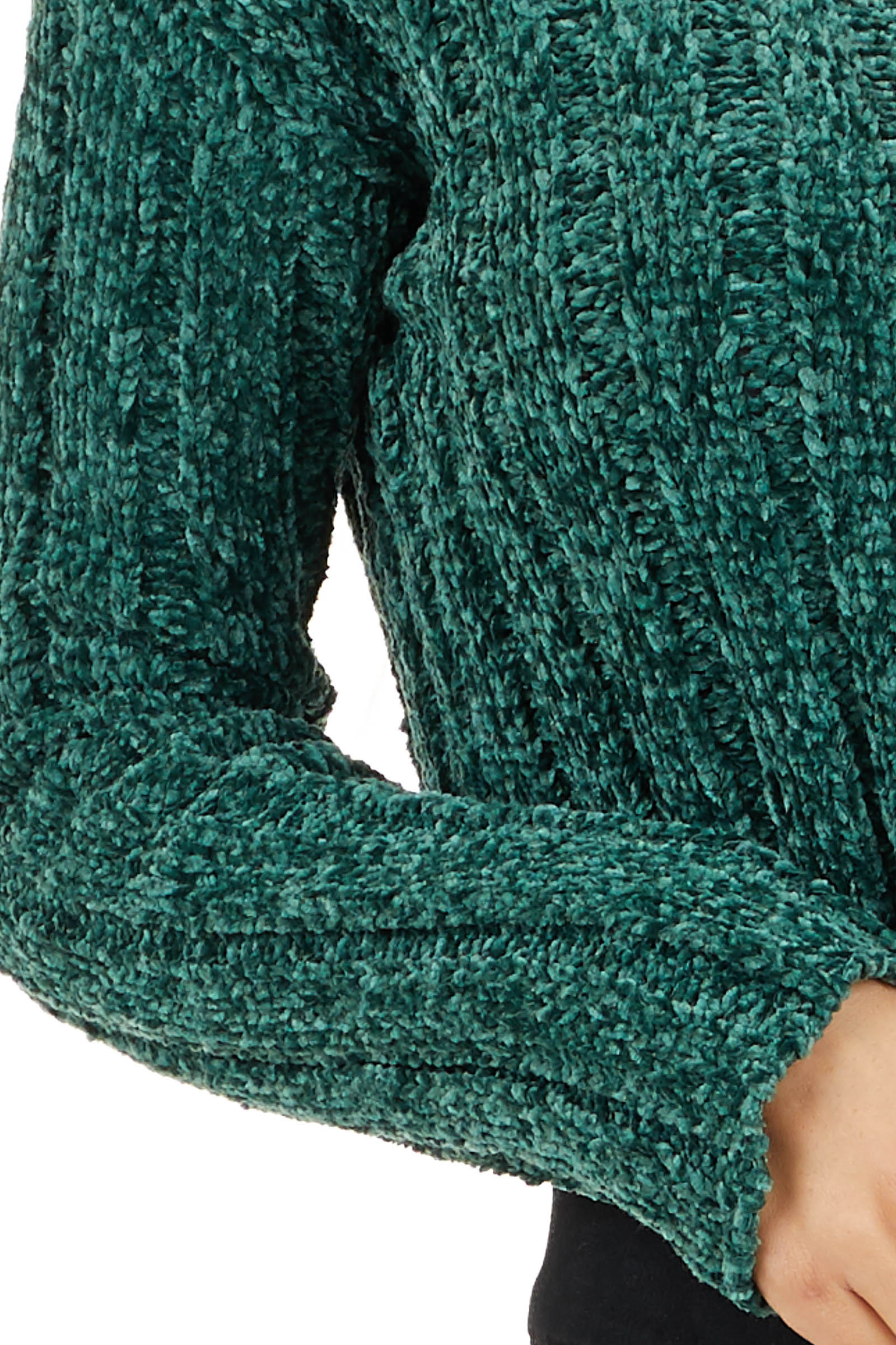 Forest Green Cropped Chenille Sweater with Long Sleeves detail